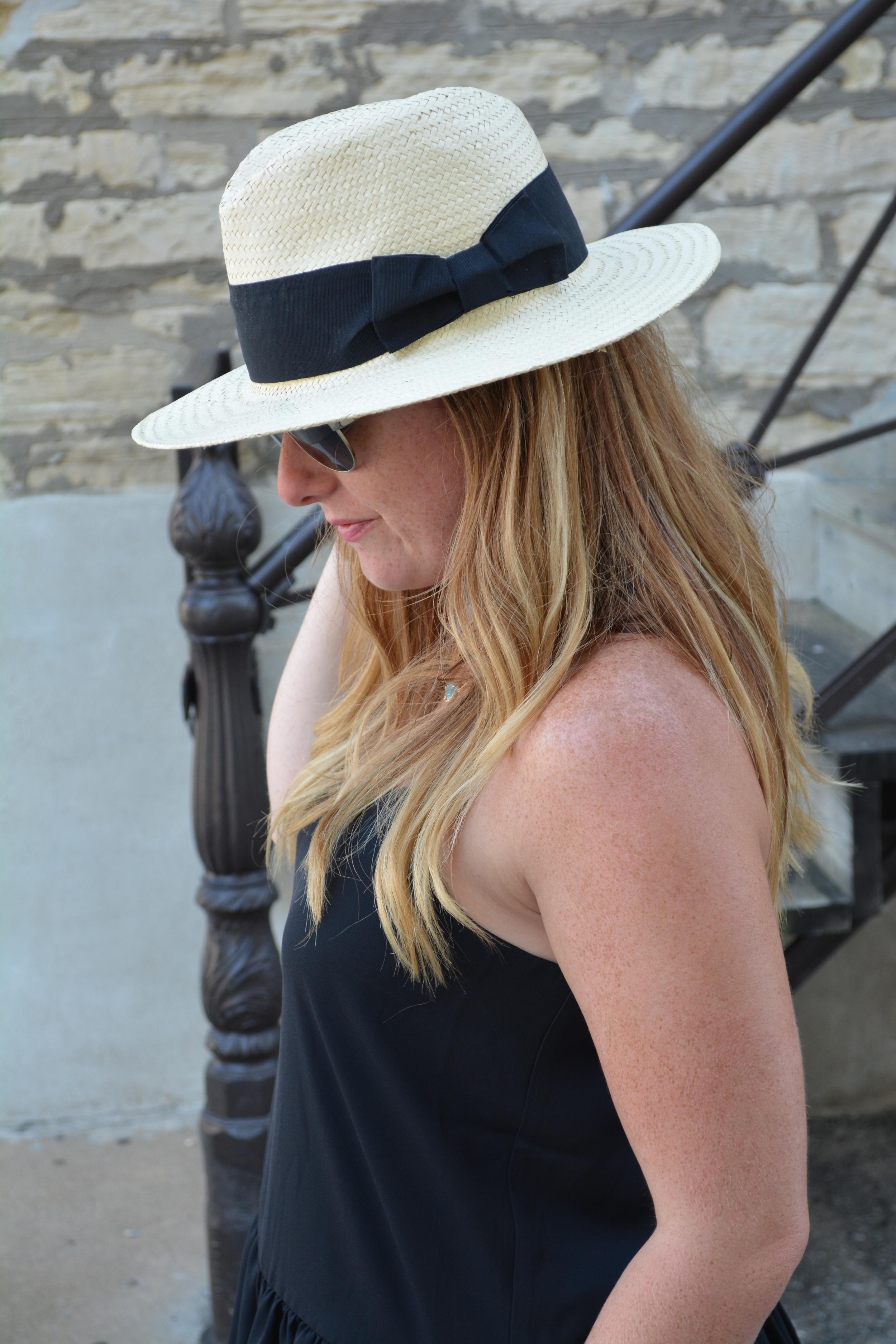 Panama hat with black tank on Sophisticaited.com