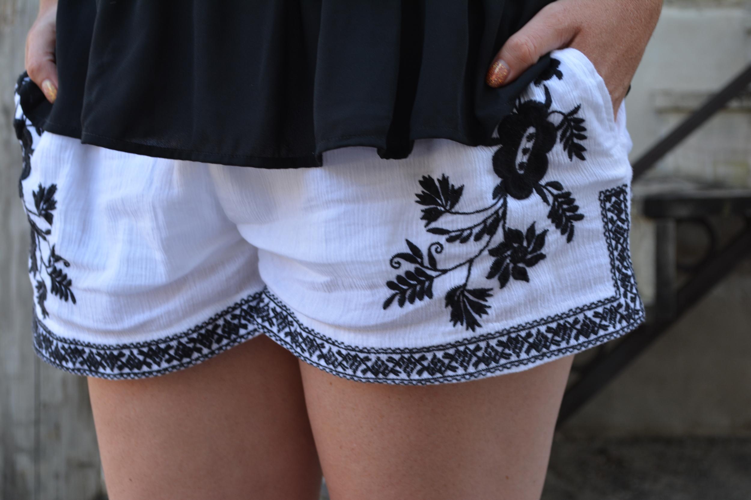 White and black embroidered short on Sophisticaited.com