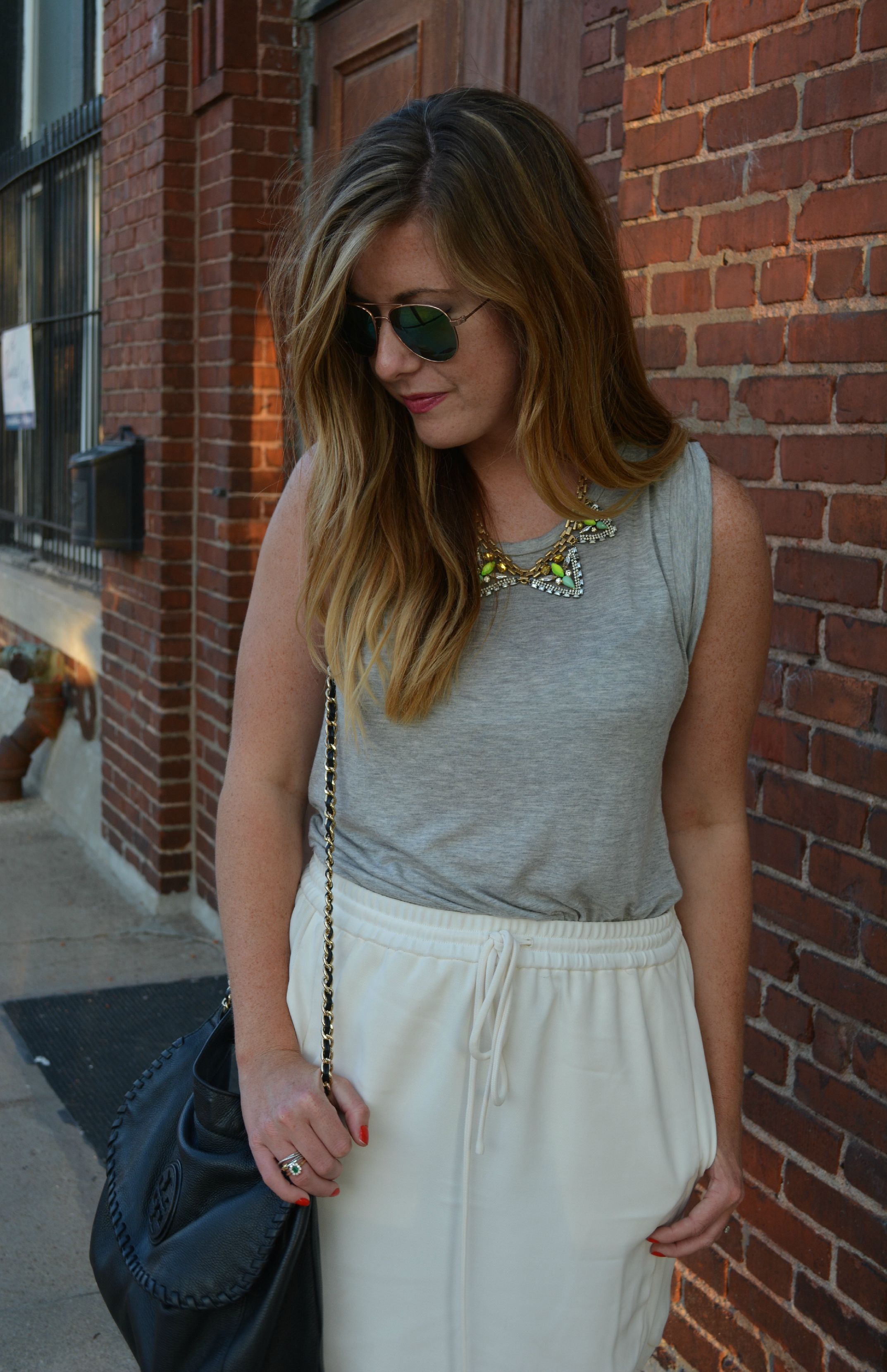 Gray tank with ivory skirt on Sophisticaited.com