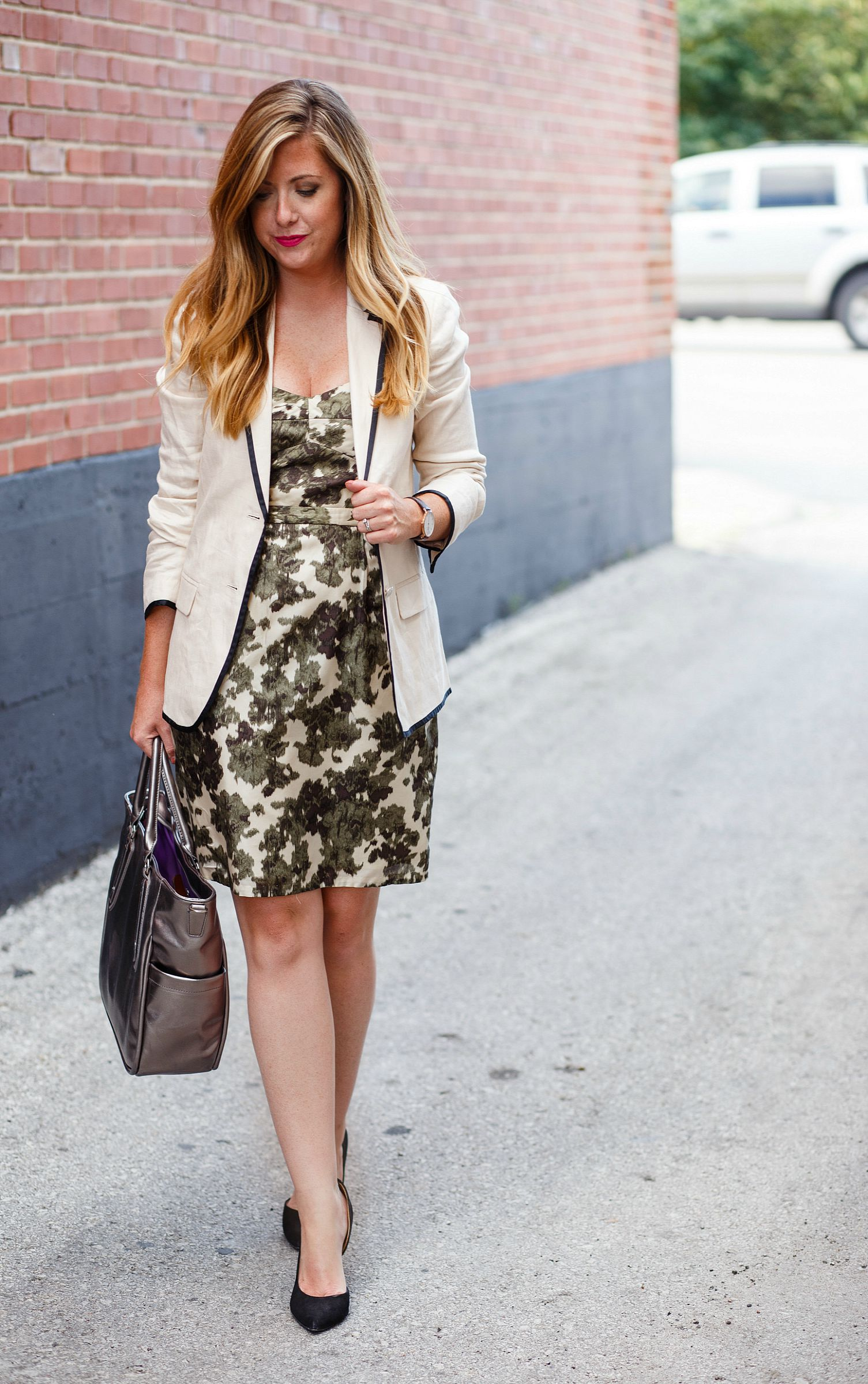 Blazer with dress and black heels for the work day. Then add accessories and take the blazer off for a night out on Sophisticaited.com