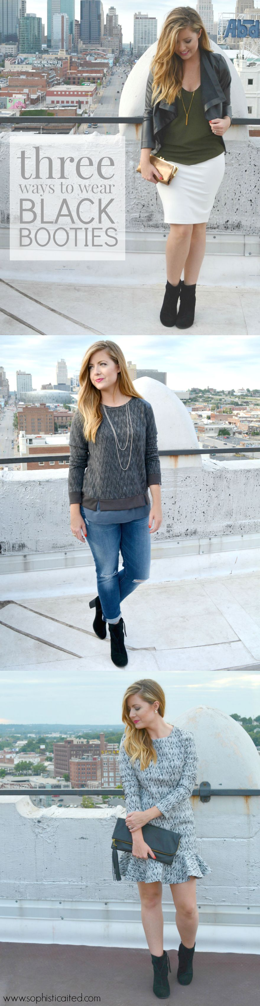 three ways to wear black booties this fall