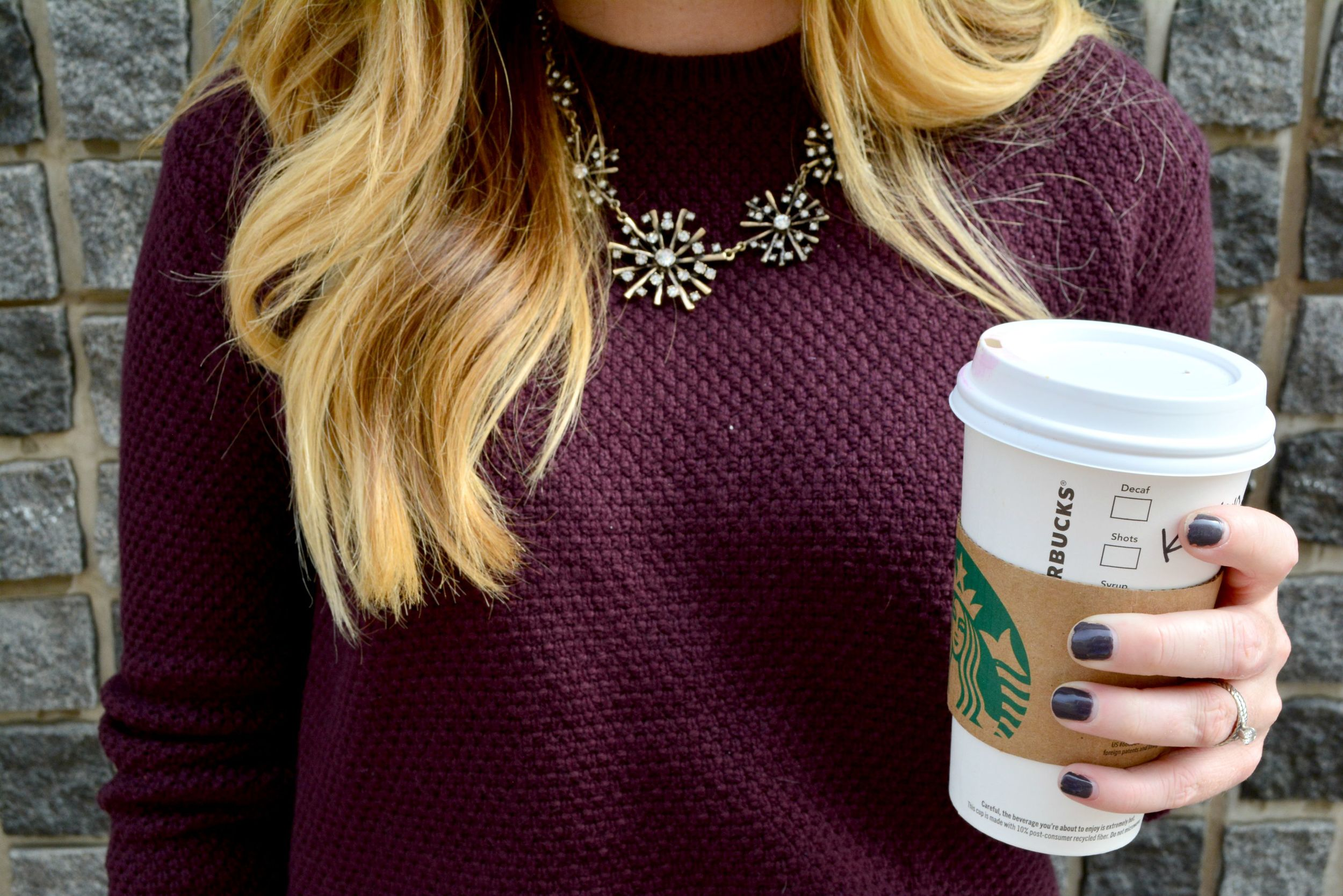 Maroon Loft sweater and statement necklace on Sophisticaited.com