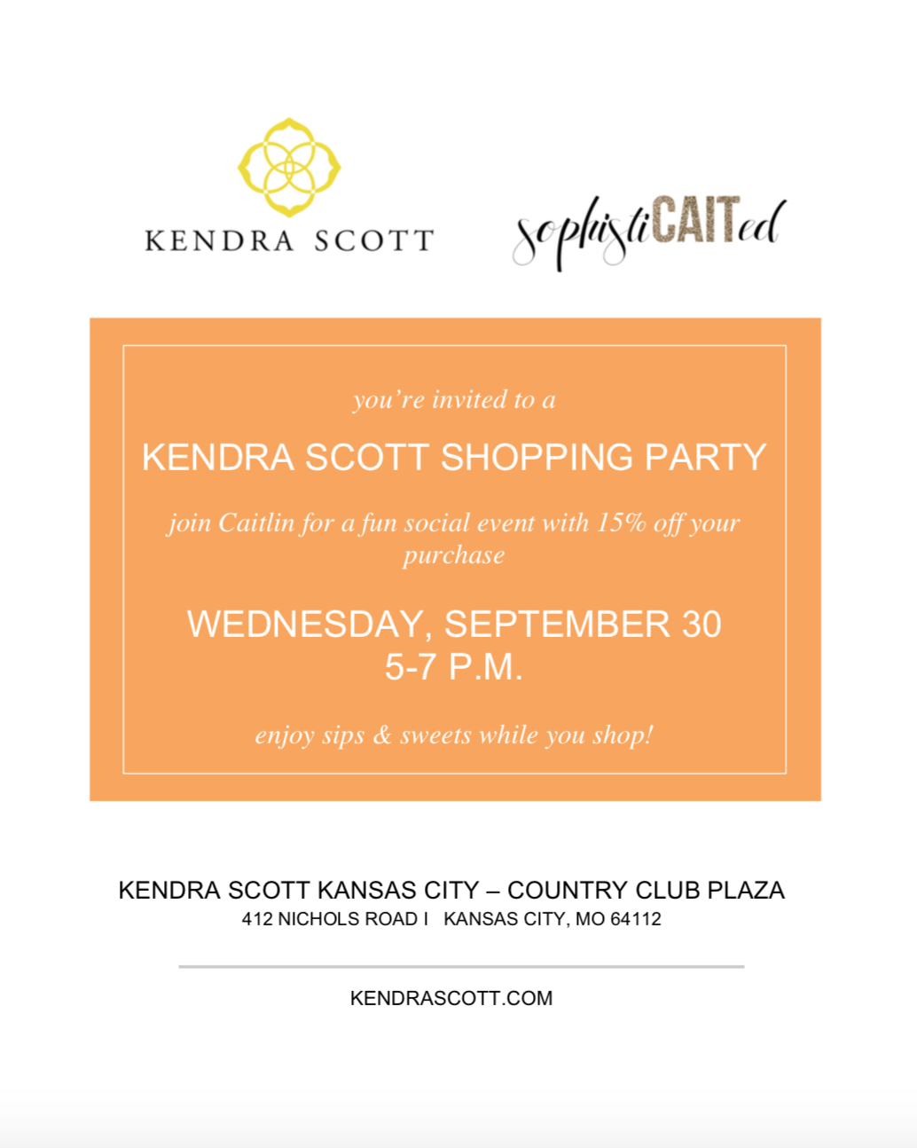 Kendra Scott + Sophisticaited KC shopping party!