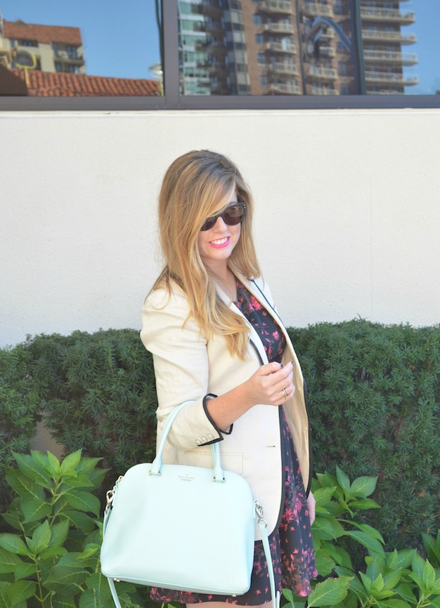 Cream blazer with patterned dress and booties on Sophisticaited