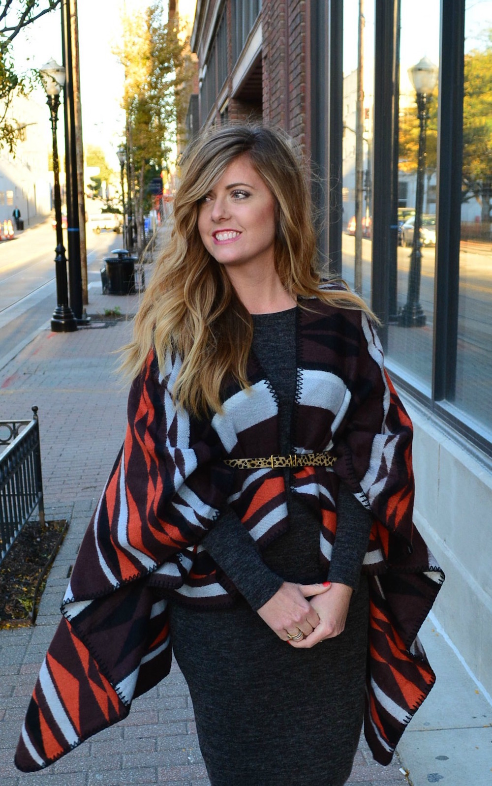 Old Navy poncho styled on Sophisticaited