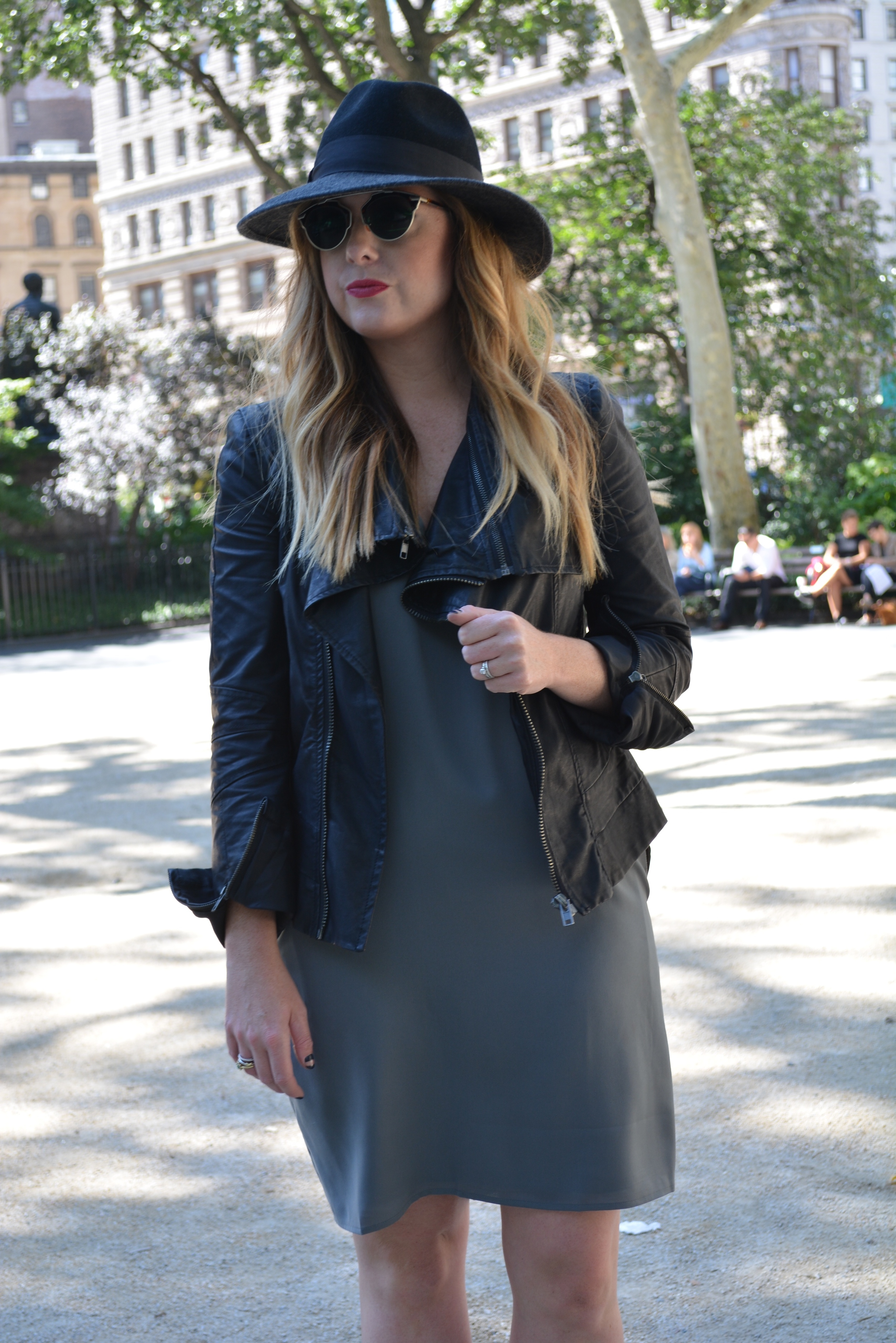 Moto jacket, shift dress outfit