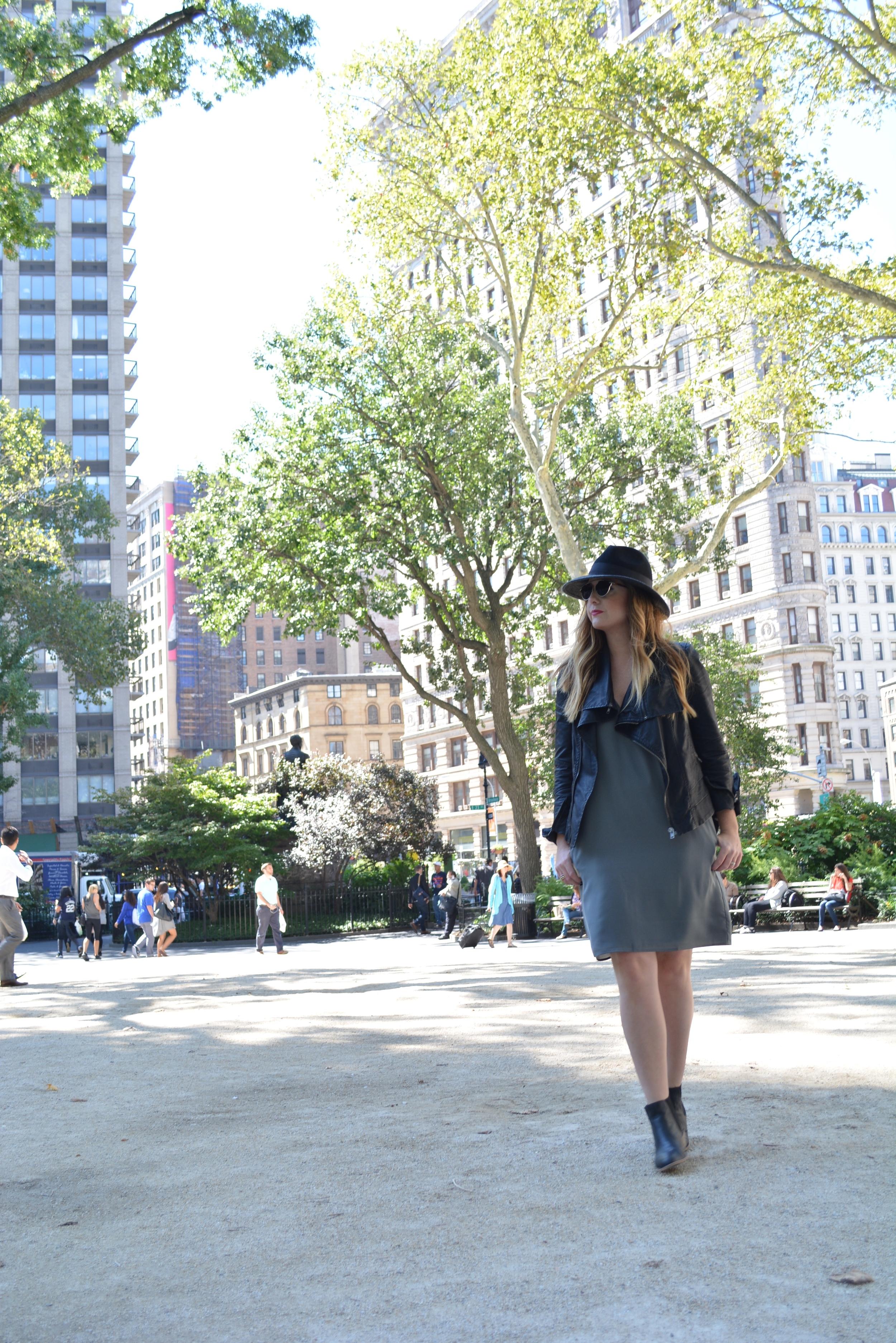 Wide brim hat, moto jacket, shift dress look