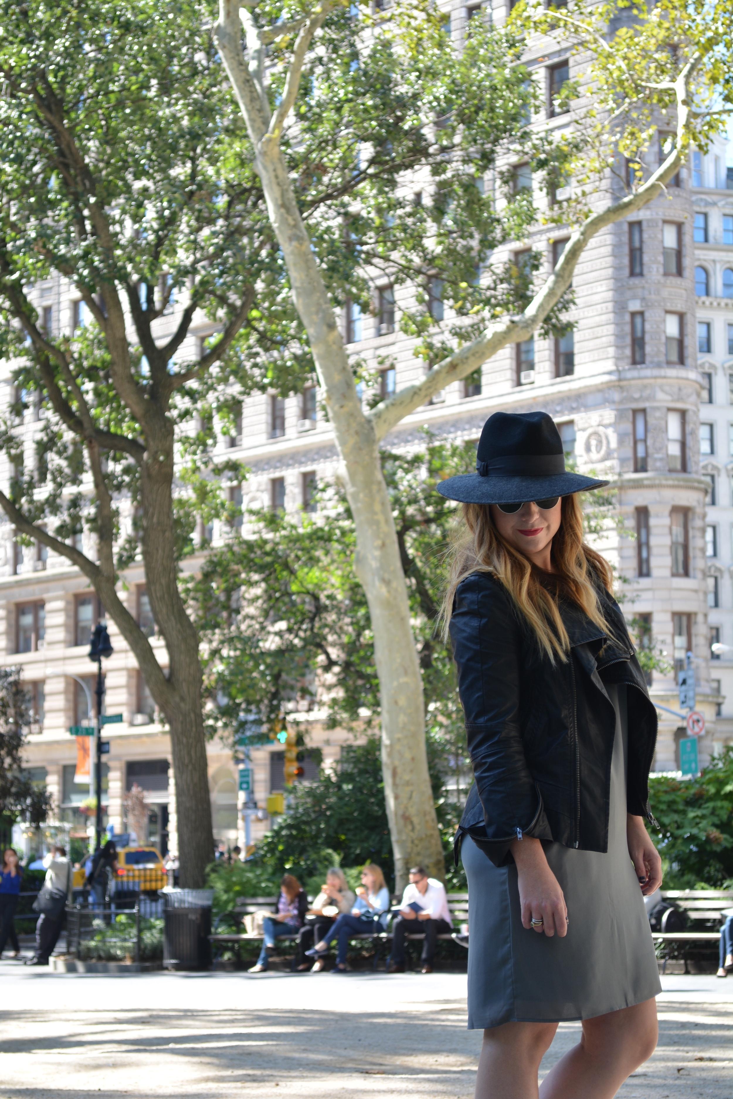 Wide brim hat, moto jacket, shift dress outfit