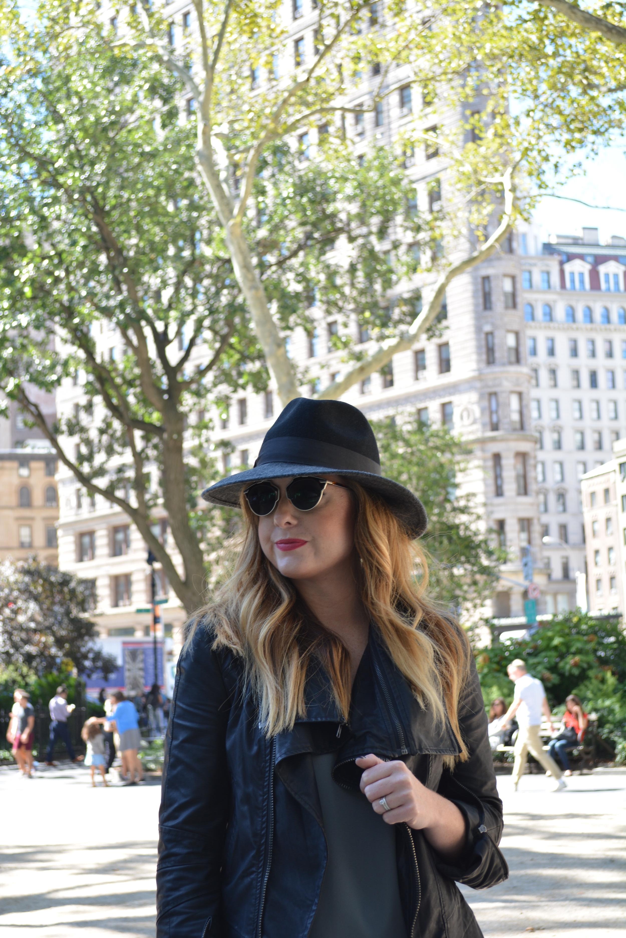 Wide brim hat and moto jacket