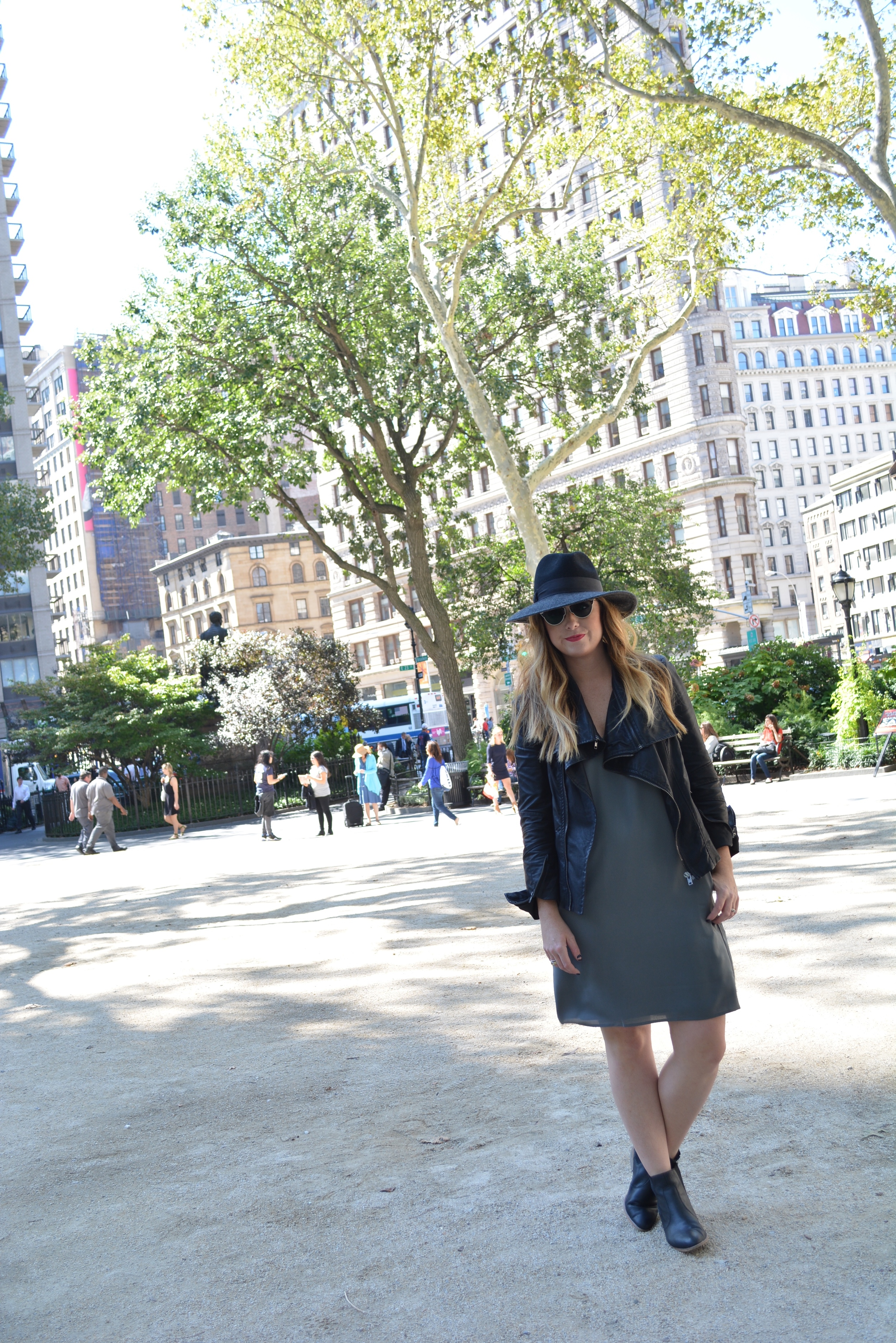 Wide brim hat, moto jacket, shift dress
