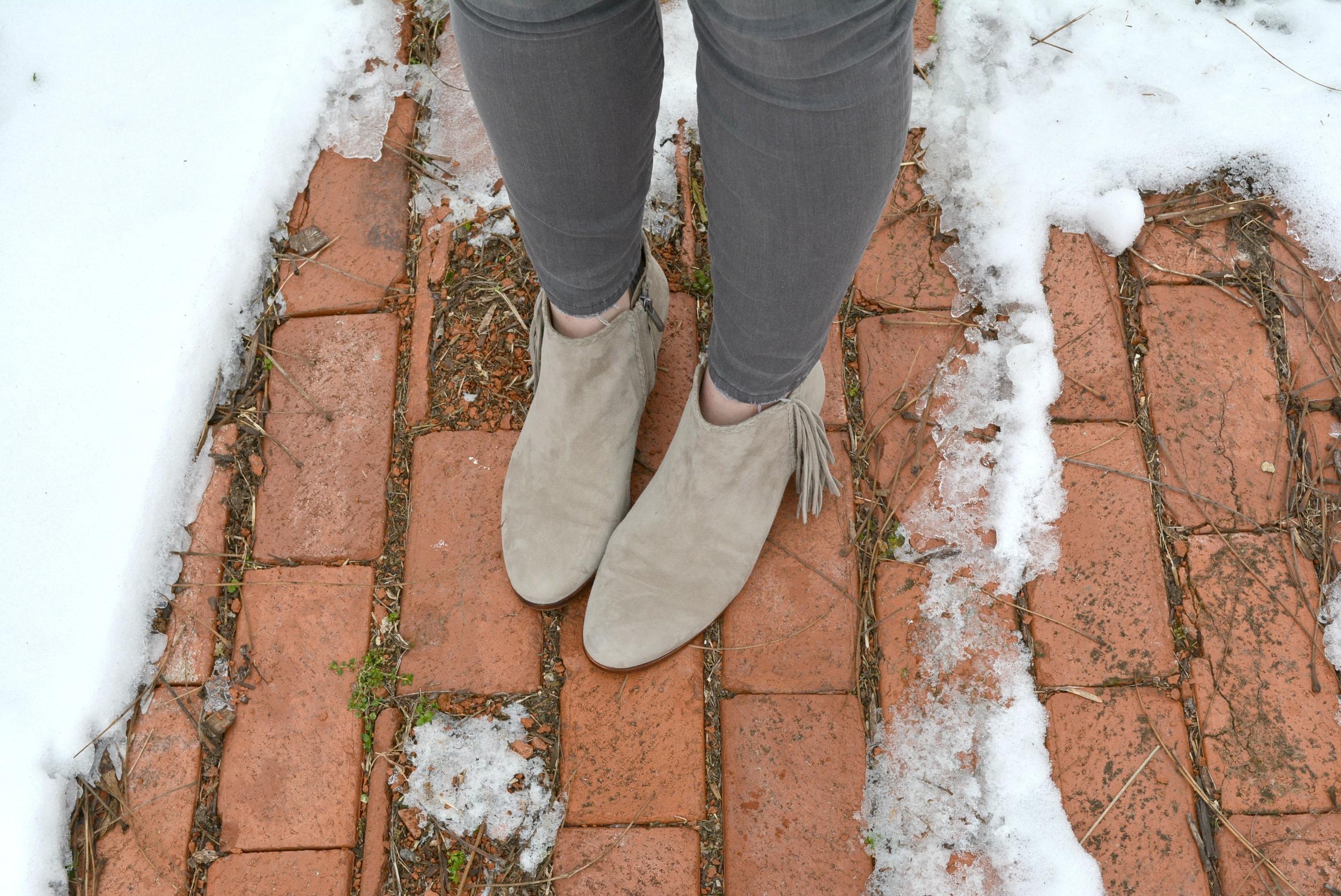 Gray fringe booties