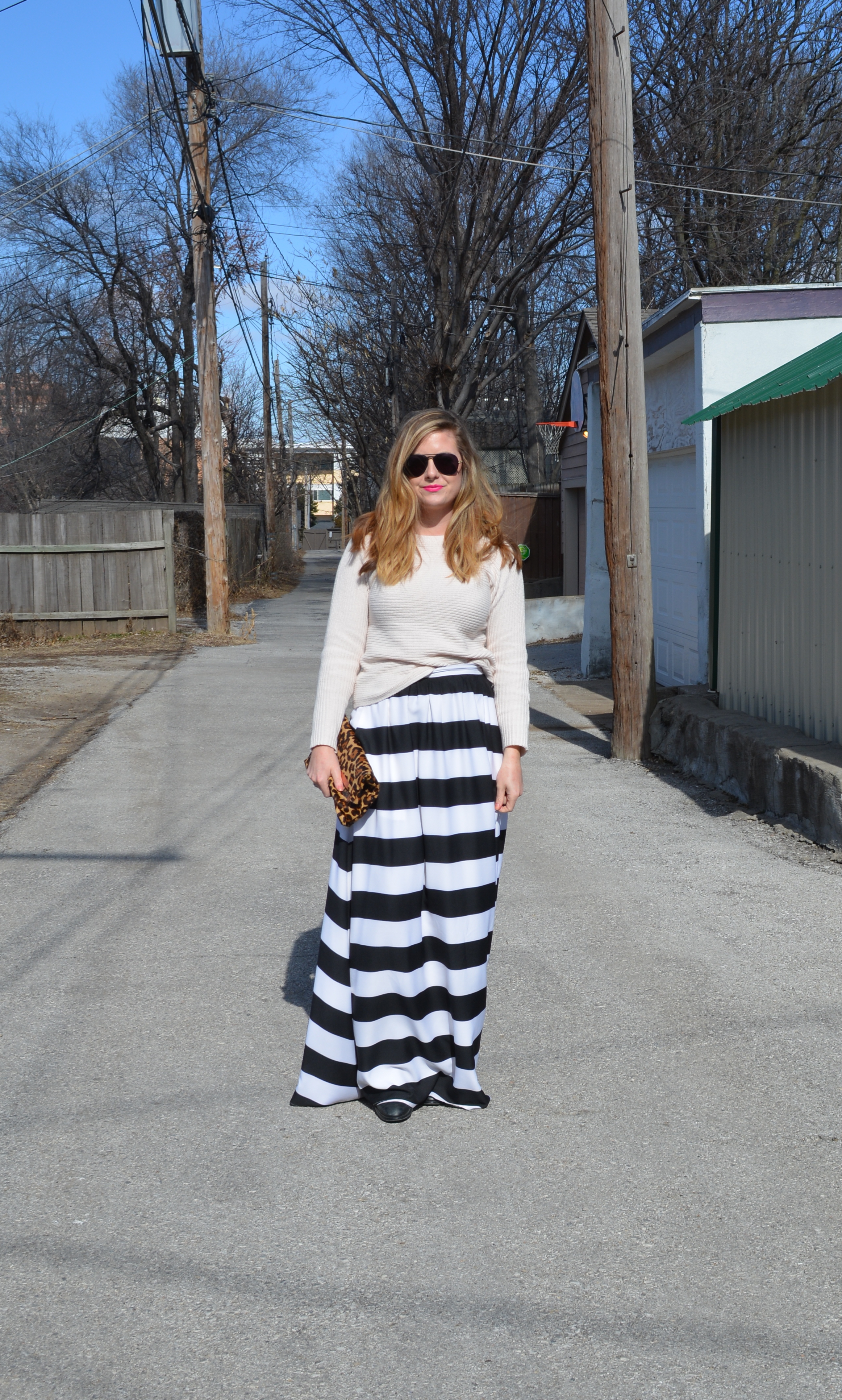 Stripe maxi skirt outfit