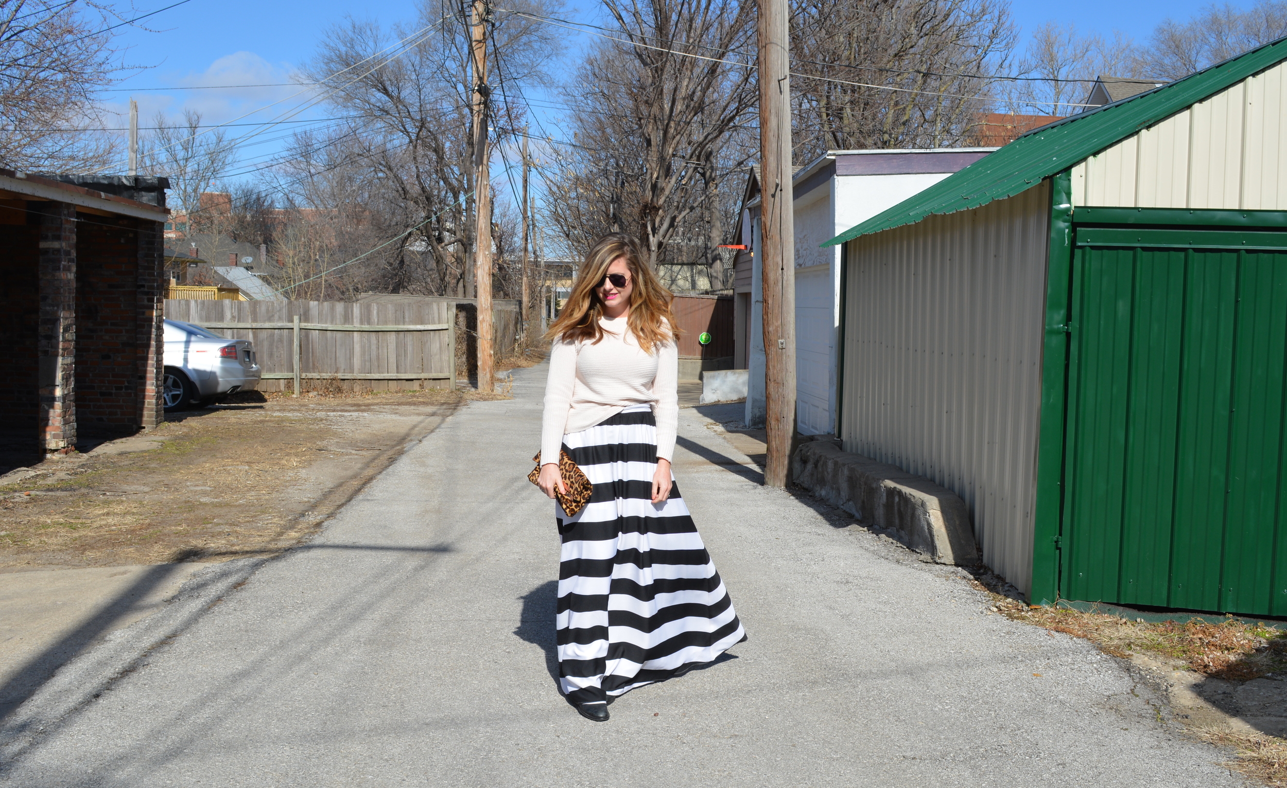 Blush sweater & black and white maxi skirt for Valentine's Day