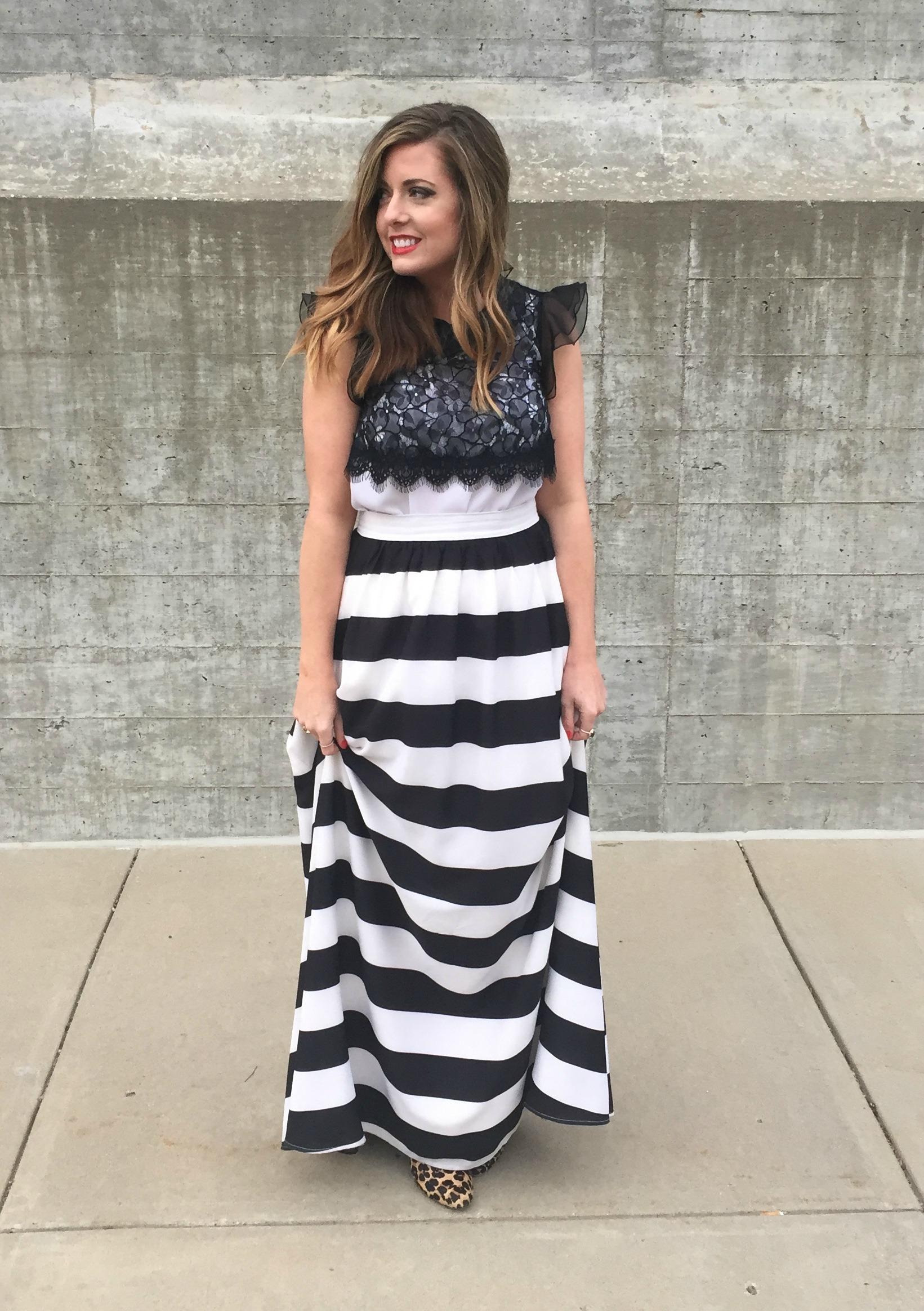 Black and white stripe maxi skirt look