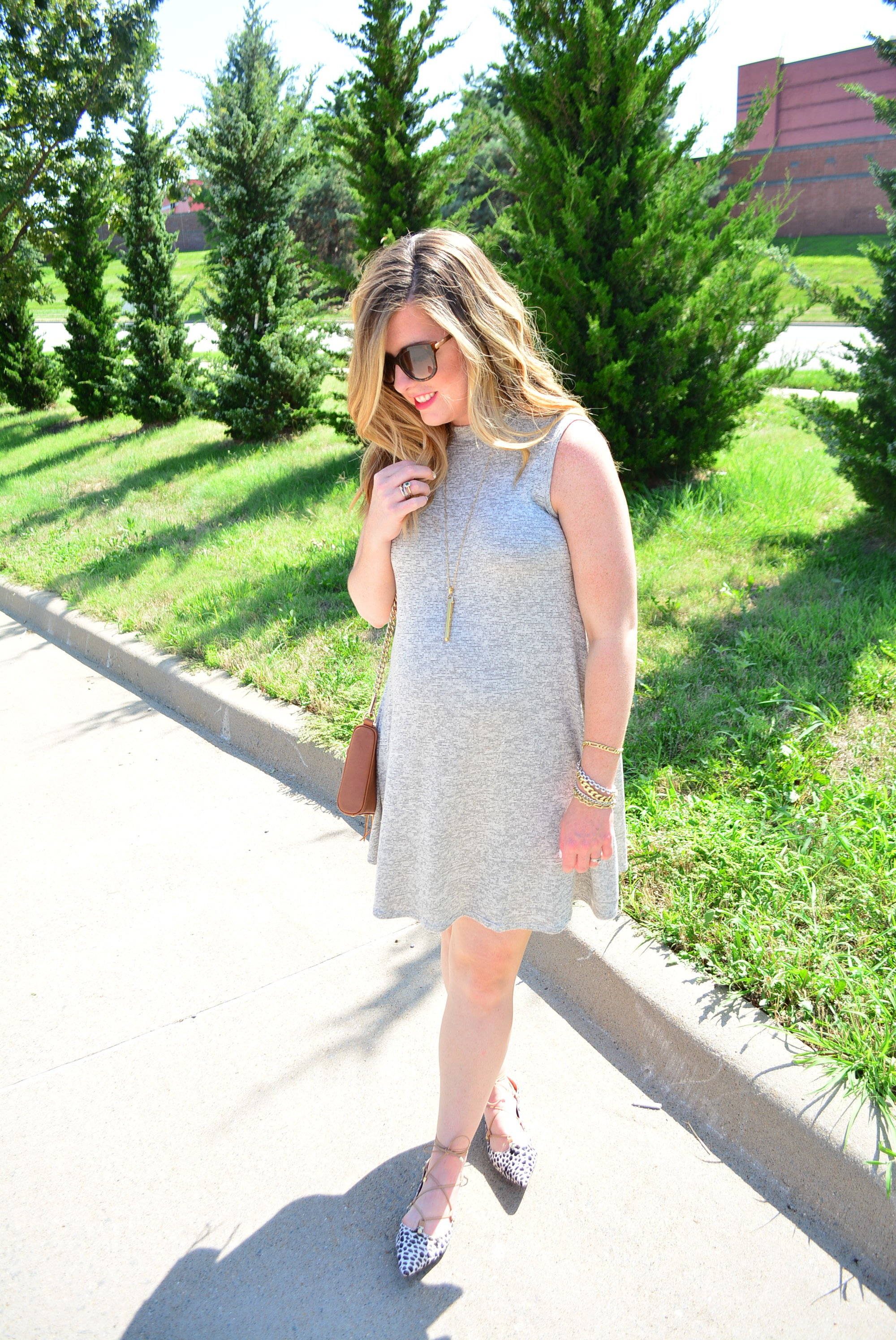 Nordstrom leopard lace up flats for end of summer outfit #maternityoutfit