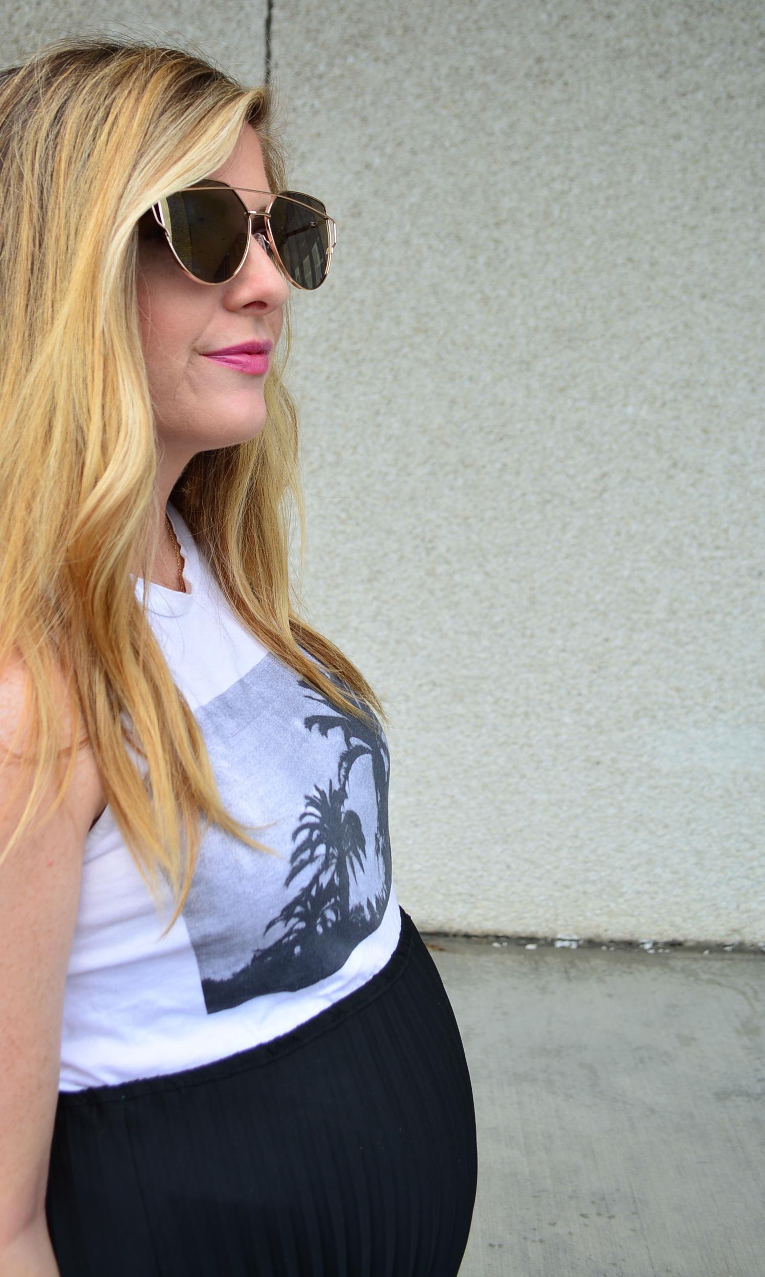 Baldwin tank and black midi skirt for a summer maternity look