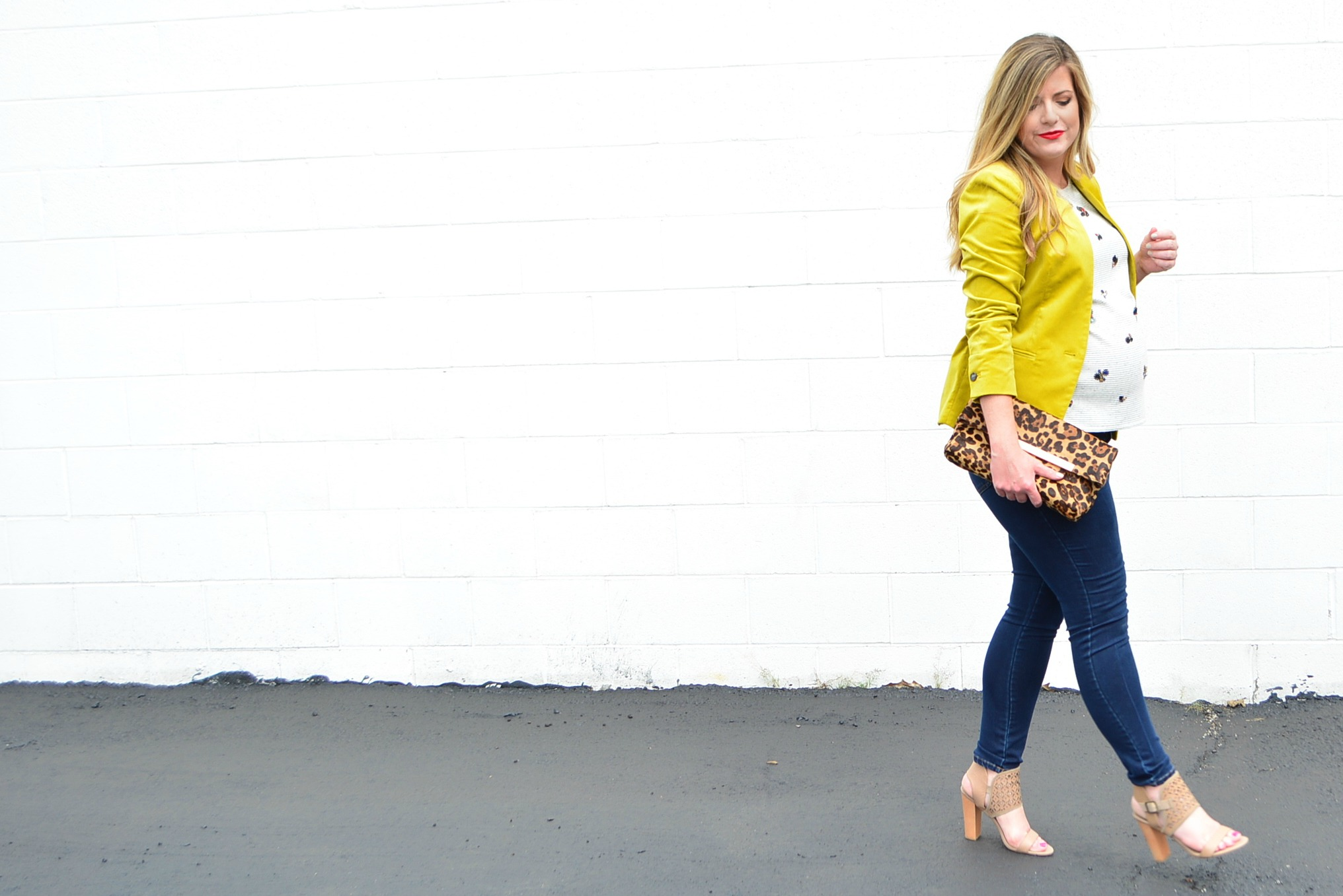 Banana Republic velvet jacket and embellished top for a great fall outfit