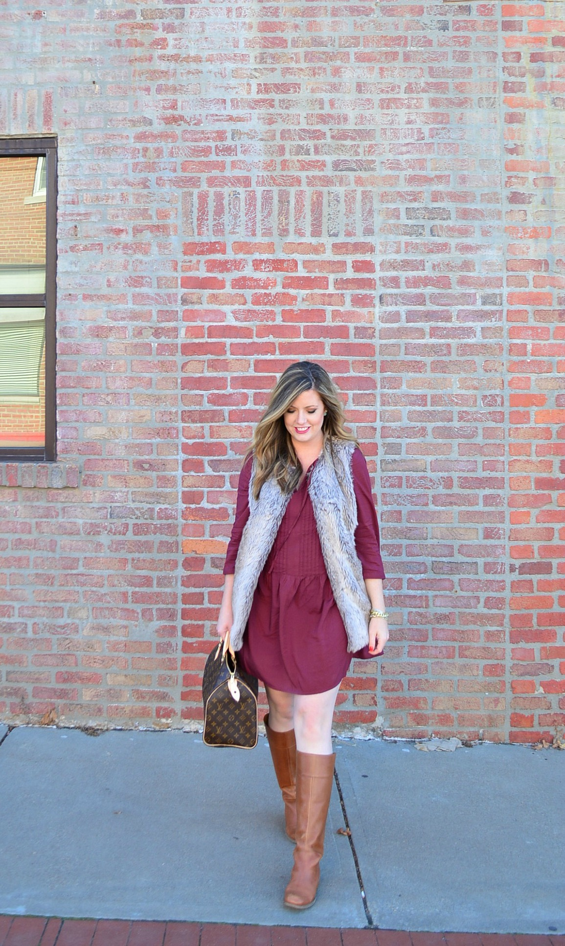 Maroon dress and fur vest for Thanksgiving