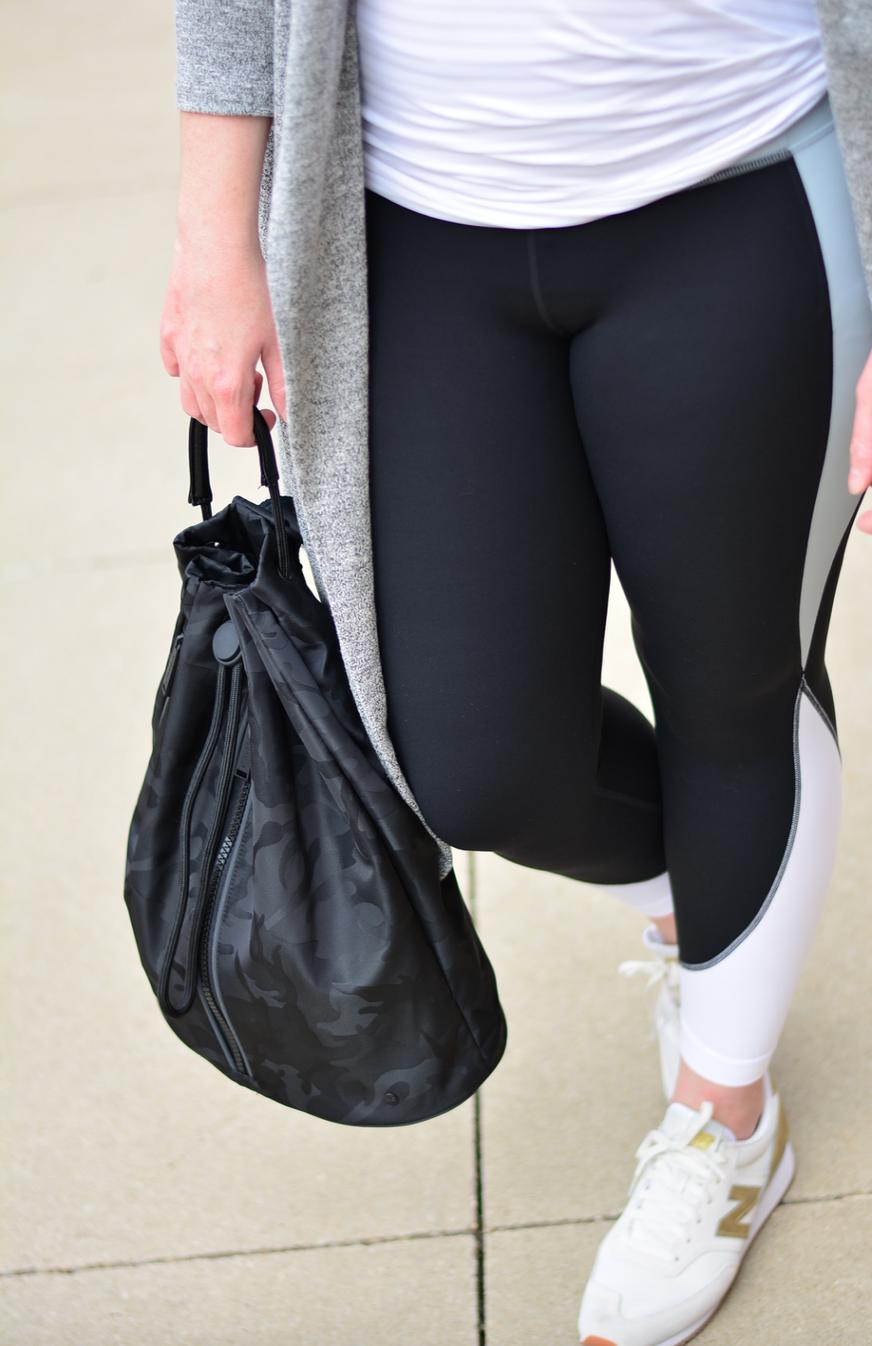 Athleta long cardigan and color block workout look