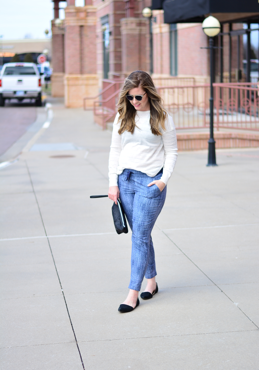 Athleta stripe sweater and printed joggers outfit