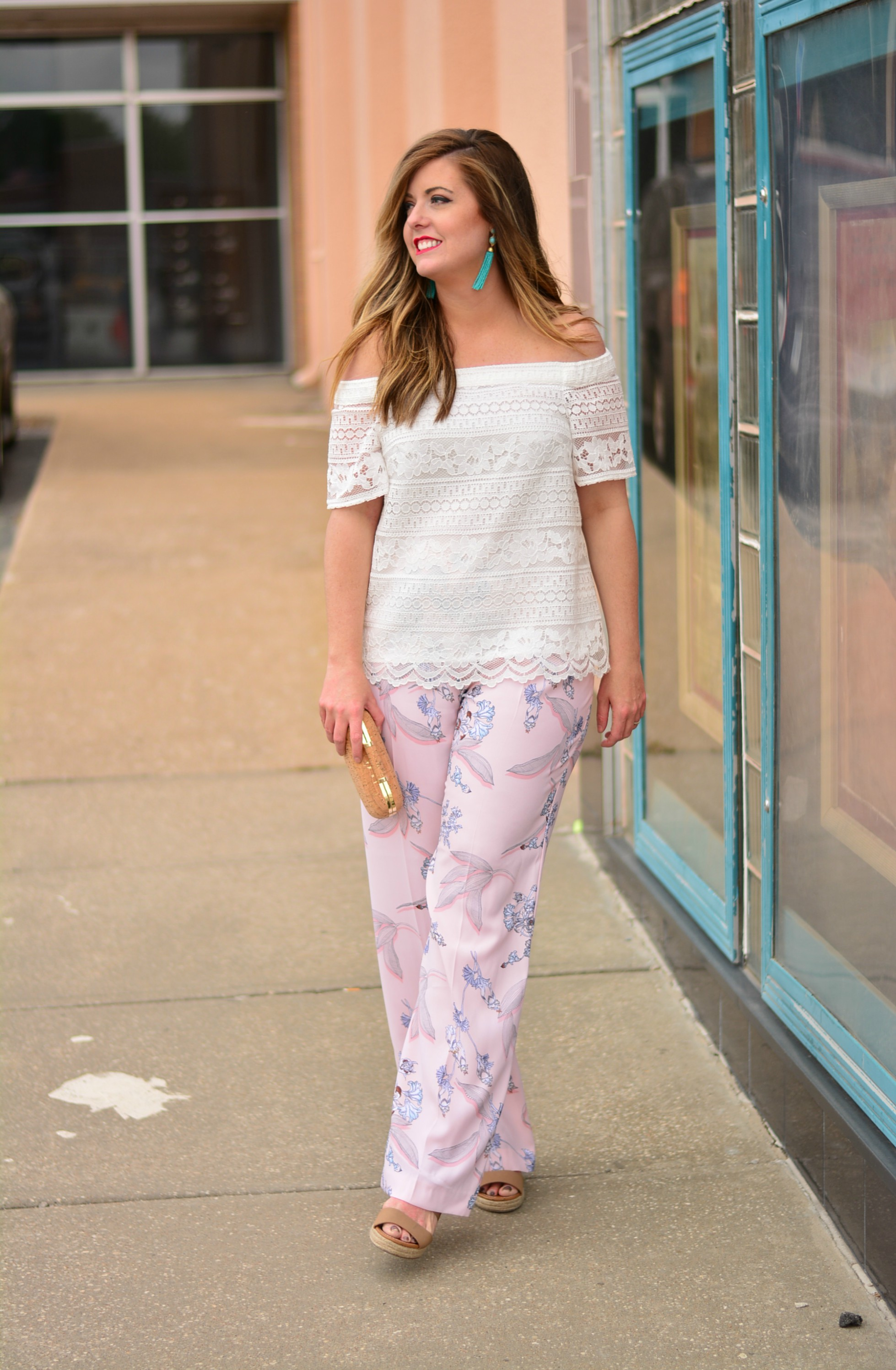 White lace off the shoulder top with floral pants