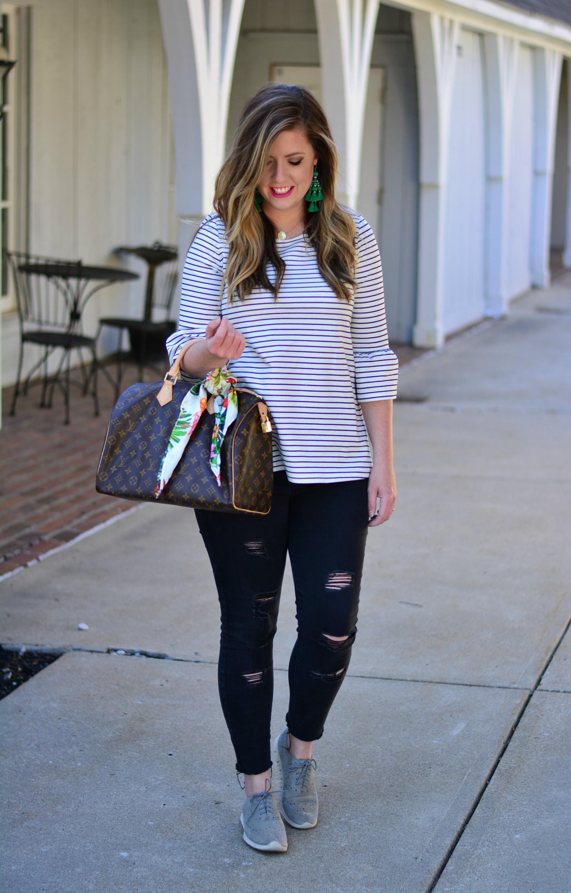Stripe bell sleeve top and Kate Spade tassel earrings