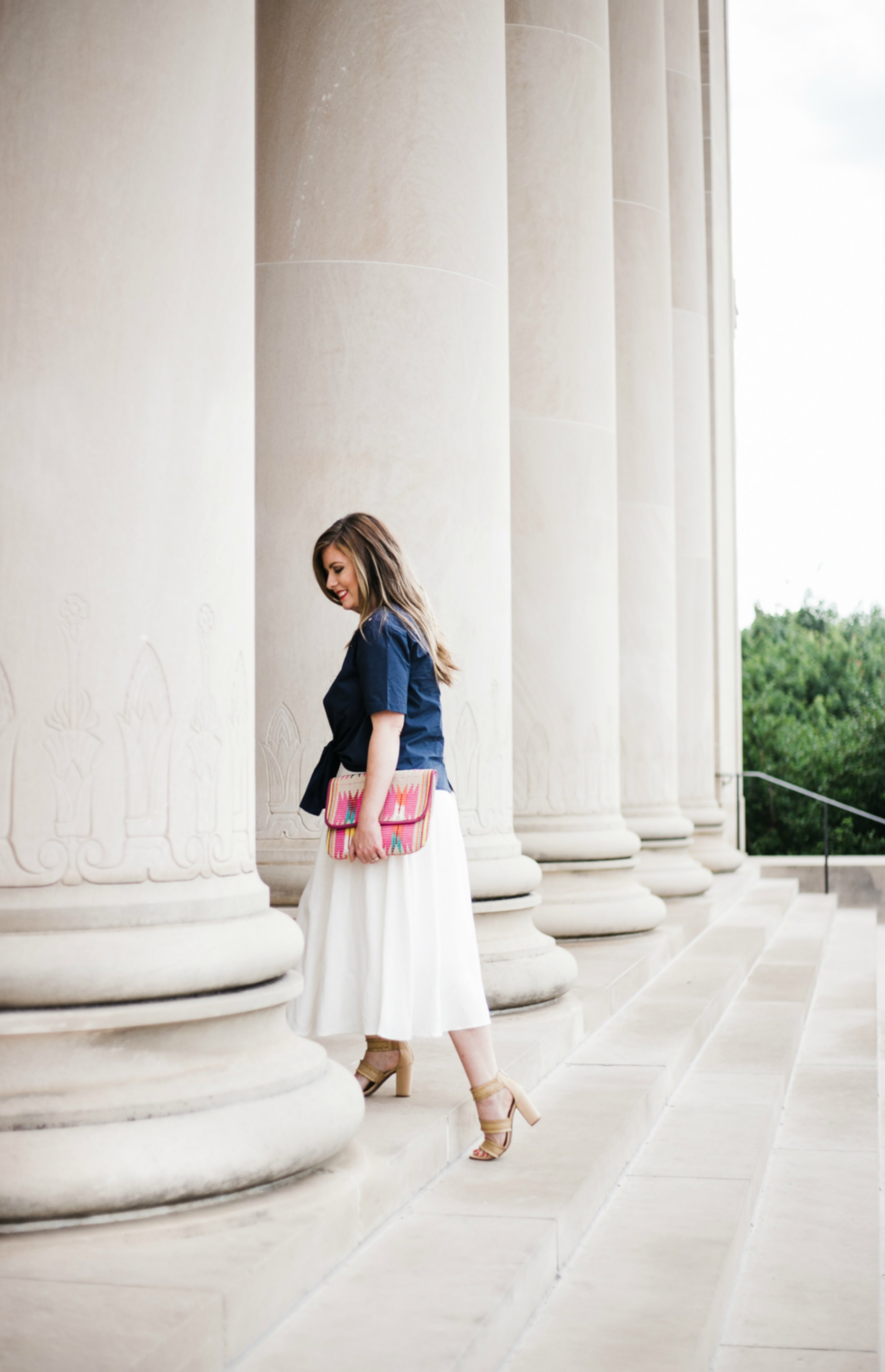 Tie front top for summer with white midi skirt