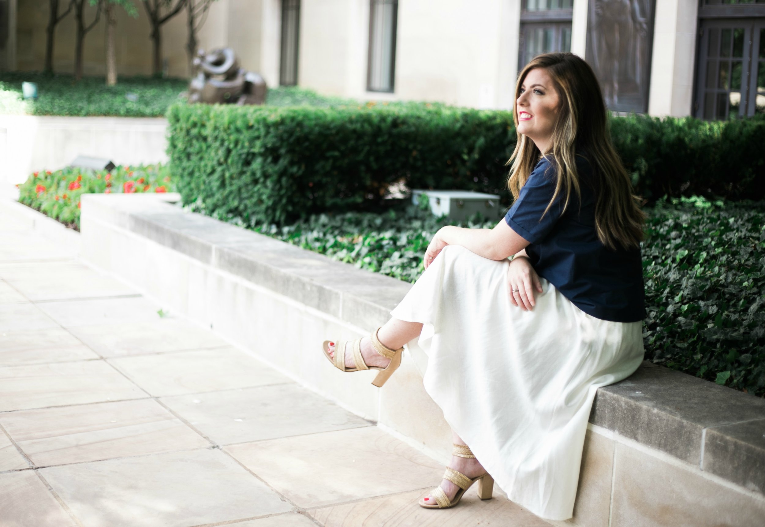 Tie front top and white midi skirt summer outfit