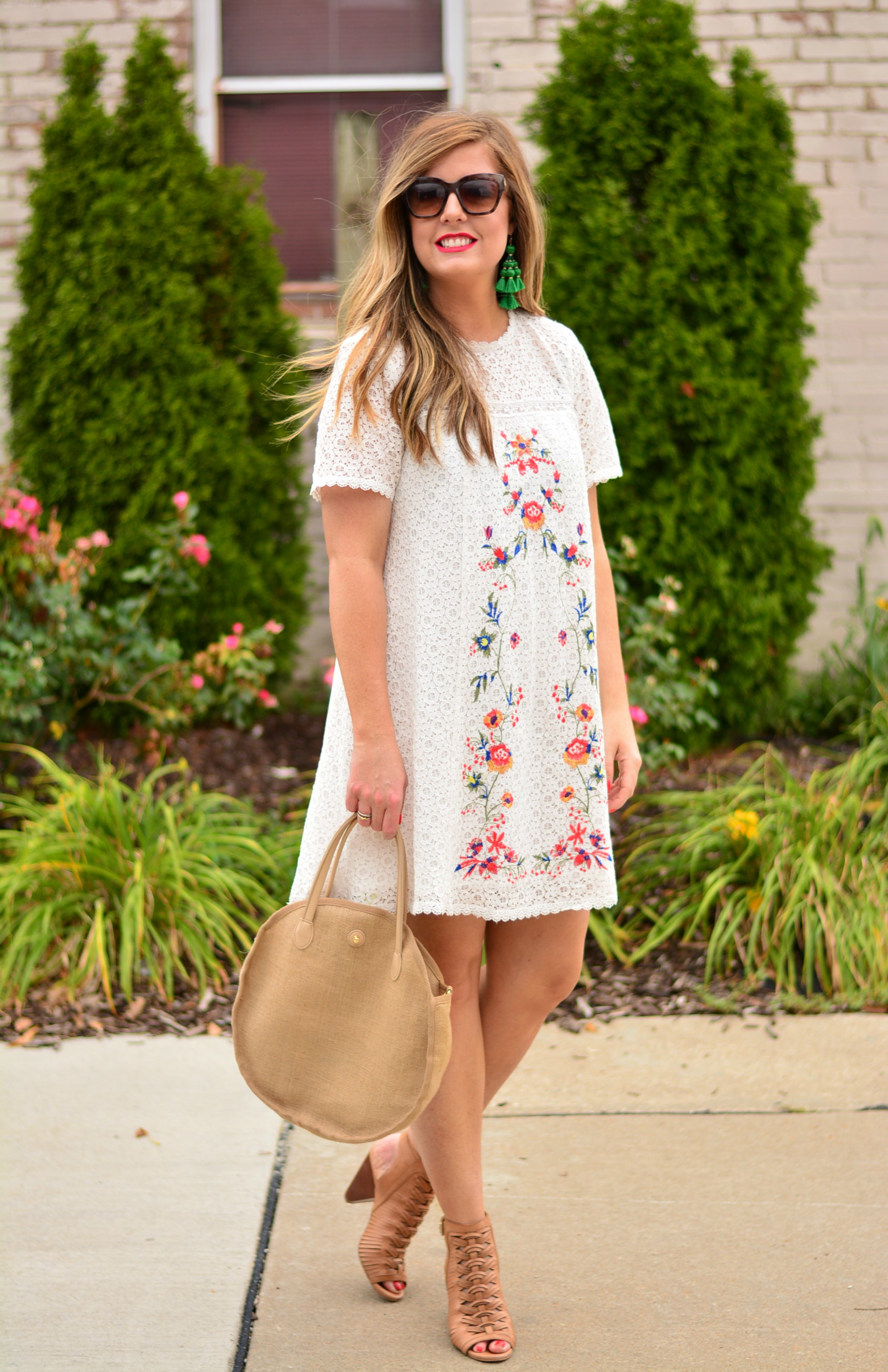 White embroidered lace dress