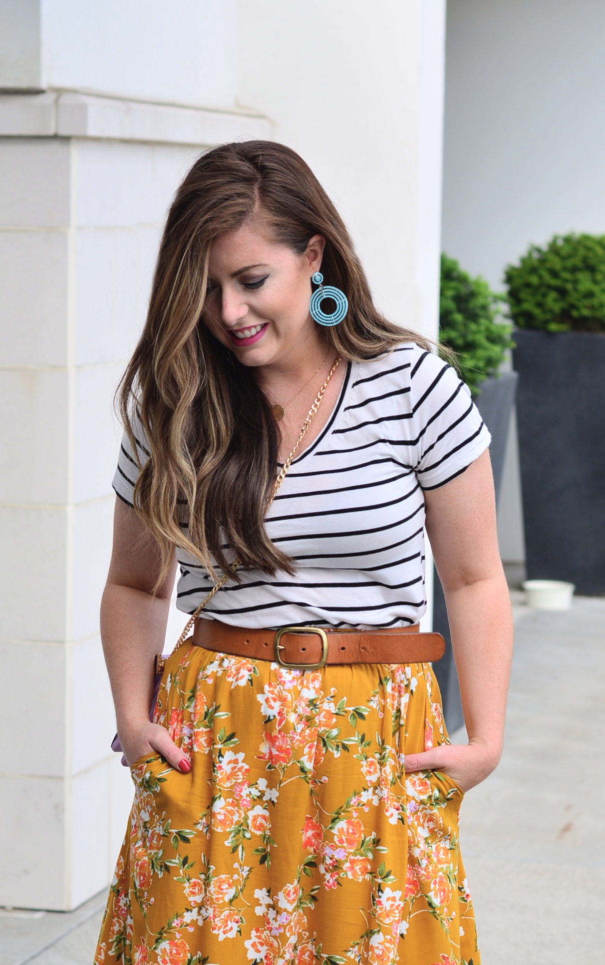 Stripe tee and floral skirt outfit