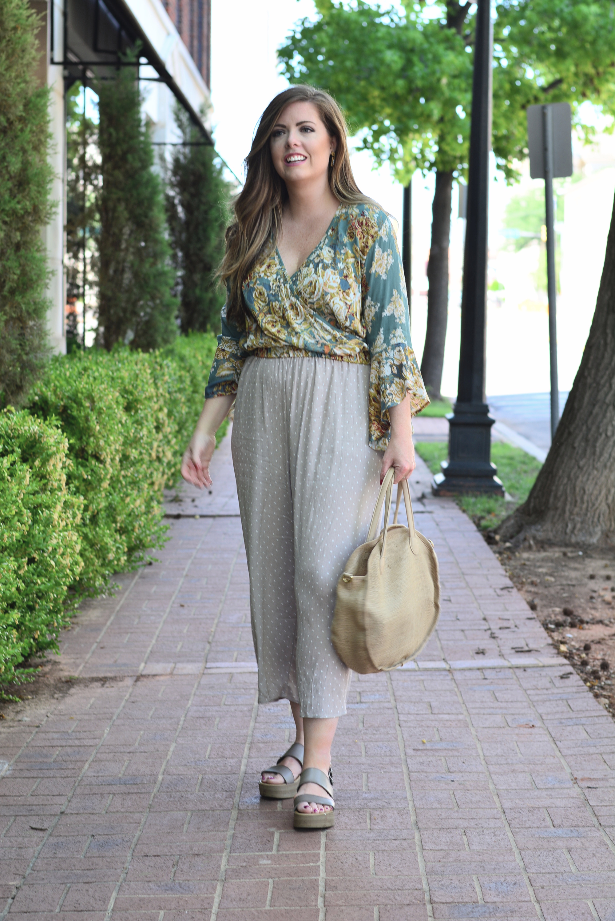 Floral Crop Top with Polka Dot Culottes for summer