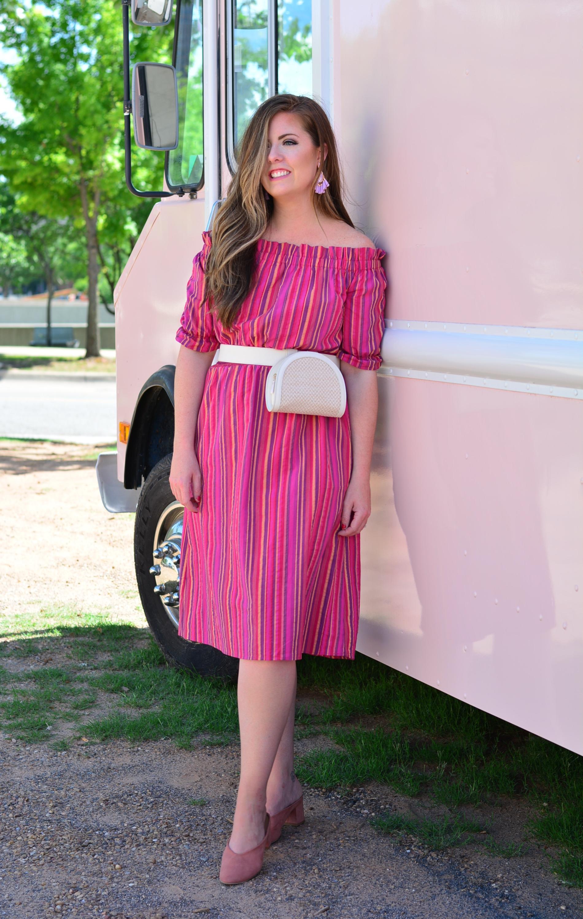 Summer Outfit idea off the shoulder dress with a belt bag