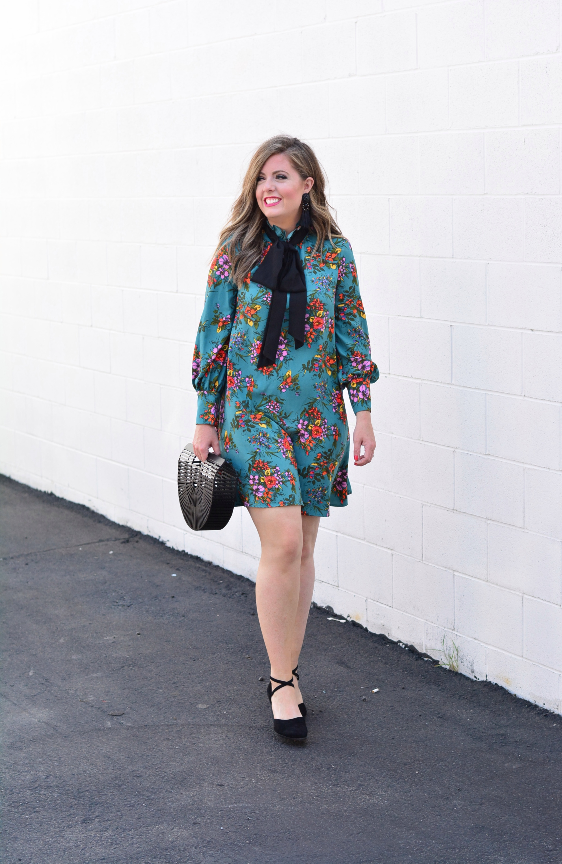 Floral dress outfit for fall