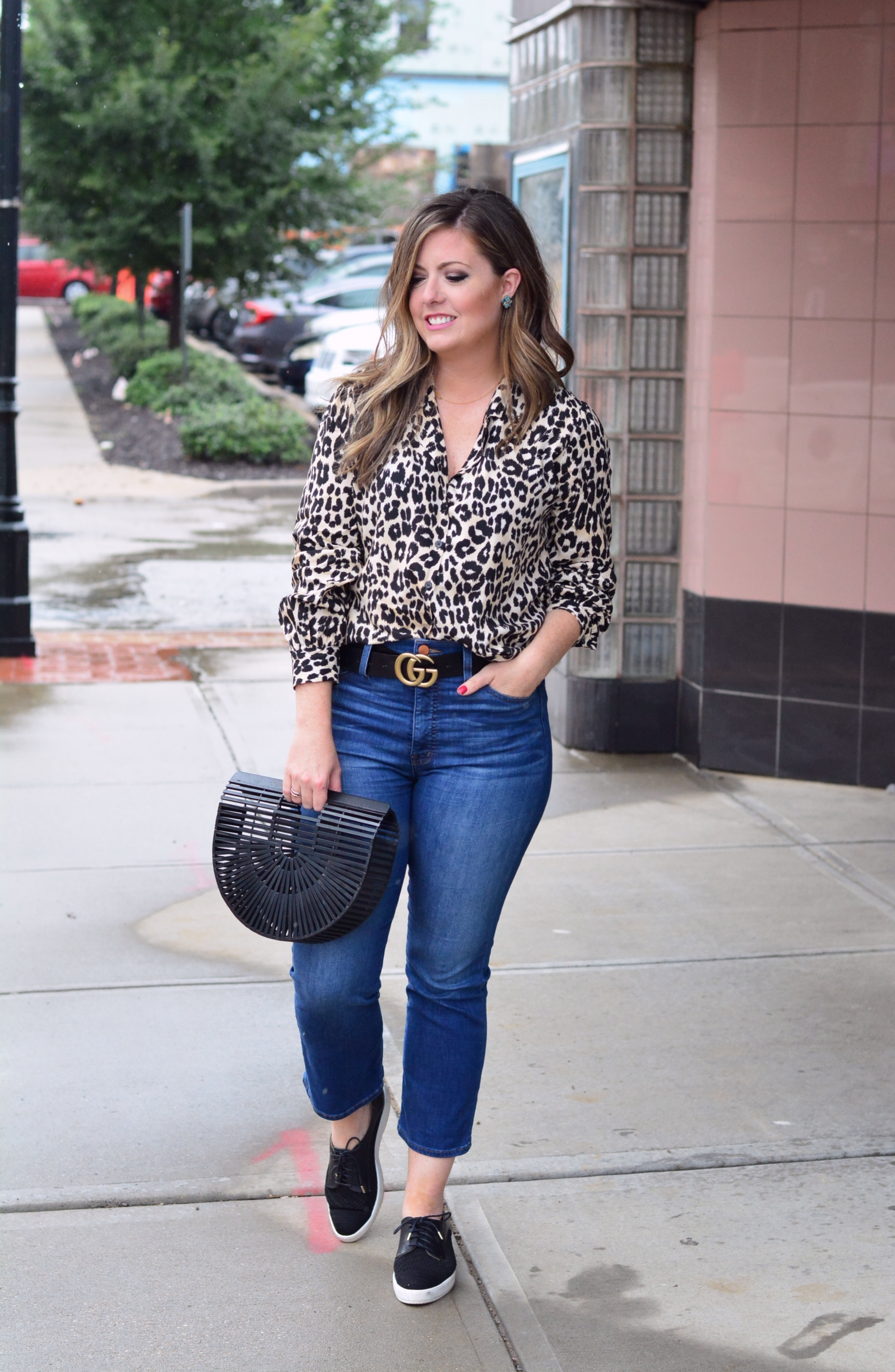 Leopard top outfit for fall | Sophisticated | Cait Fore