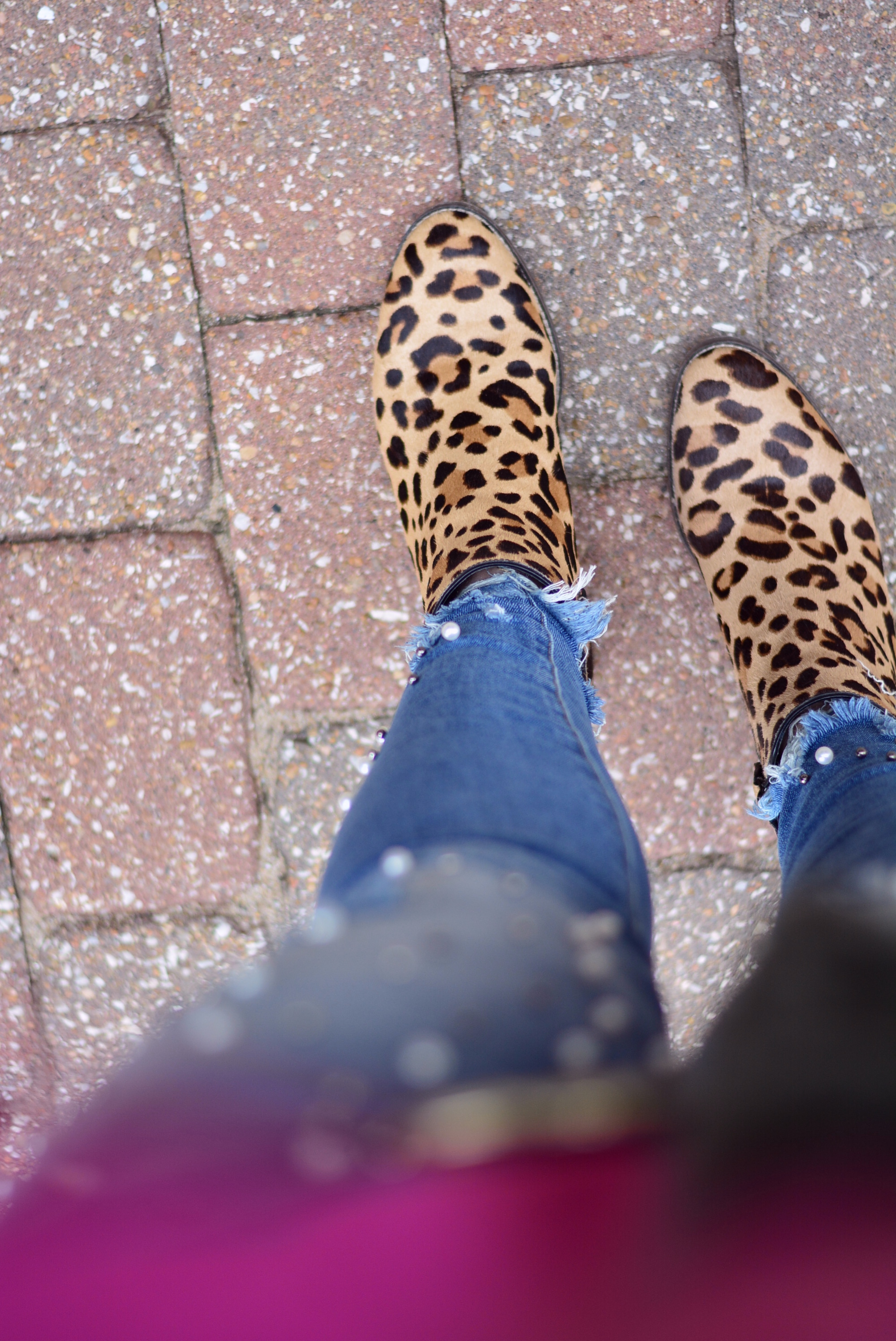Pearl jeans with a pink top, faux fur vest, and leopard booties | Fall Outfit | Sophisticaited | Cait Fore