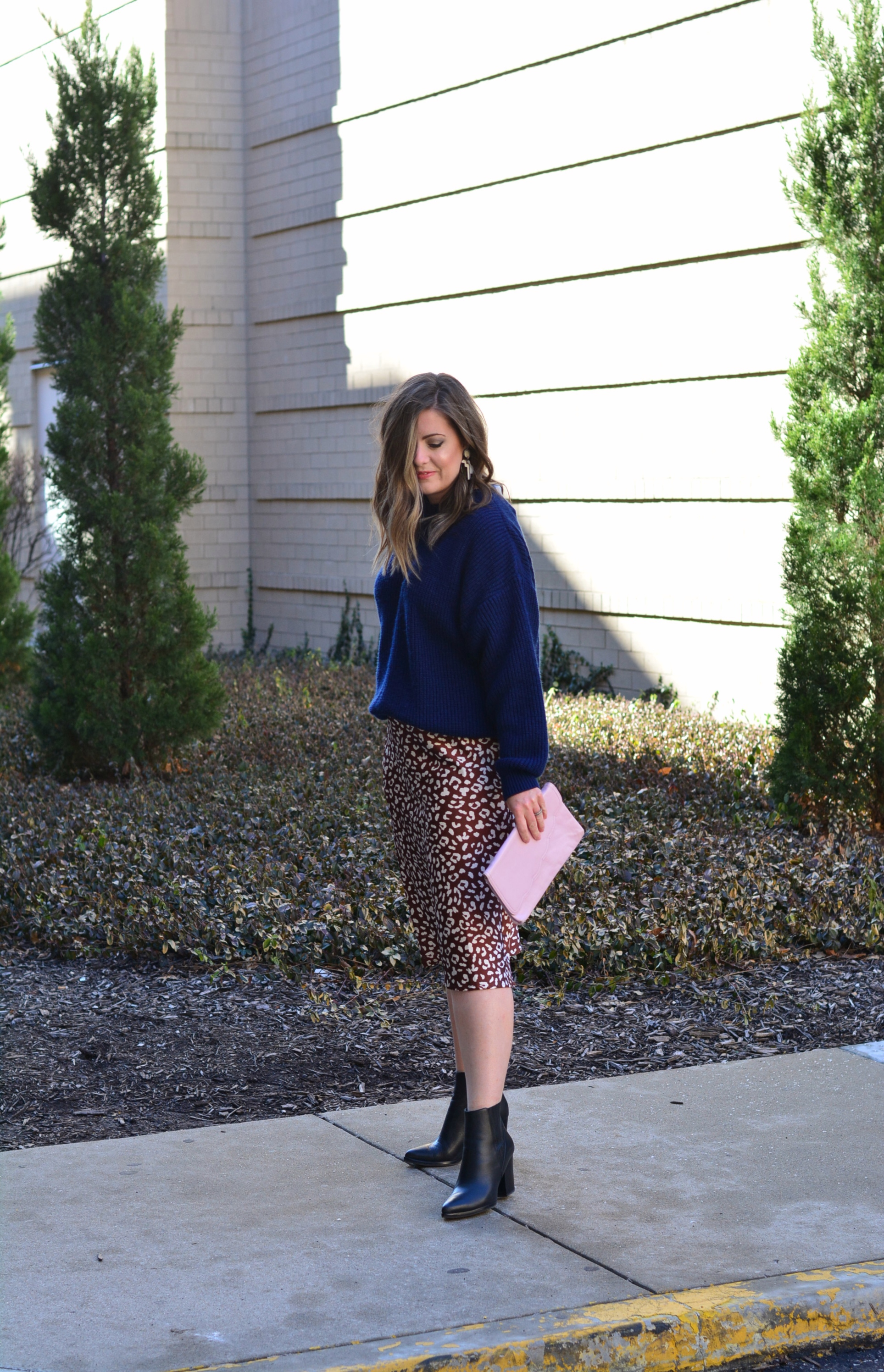 Knit sweater with leopard midi skirt | Sophisticaited by Cait Fore