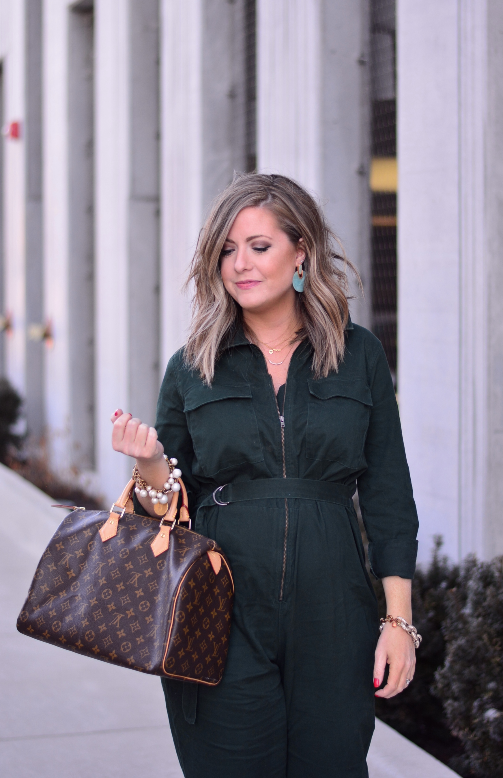 Target green jumpsuit   Sophisticaited   Cait Fore