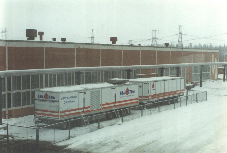 Norwegian-donated backup diesel generators parked outside the Kola Nuclear Power Plant. (JAMES FLINT)