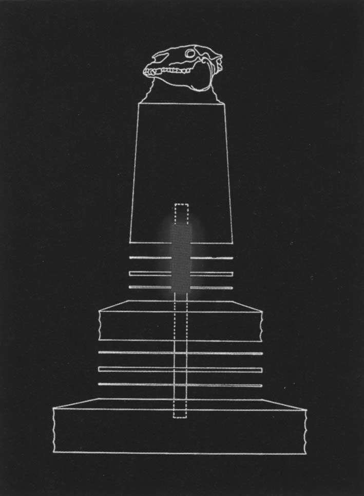 Vertical cross-section of proposed design for pedestal of Monstrance for a Grey Horse, by James L. Acord