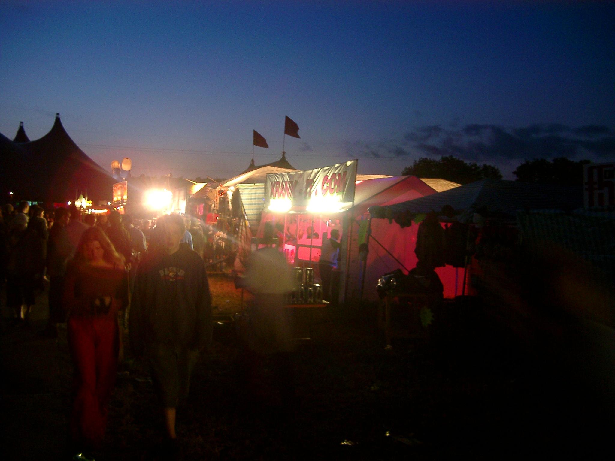 Stalls at night, Glastonbury. (JAMES FLINT)