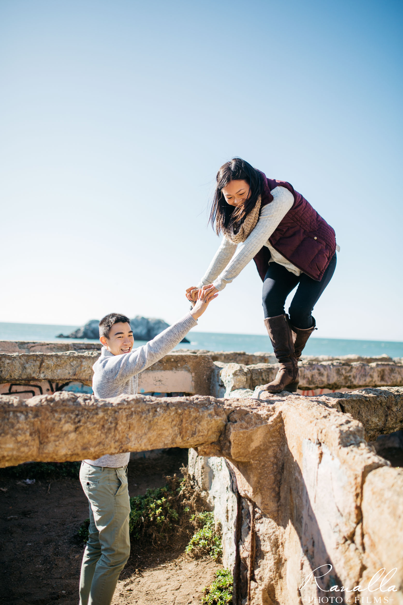 San Francisco Engagement Photography- Sutro Baths- Engaged Couple- Lands End Wedding Photos- Ranalla Photo & Films