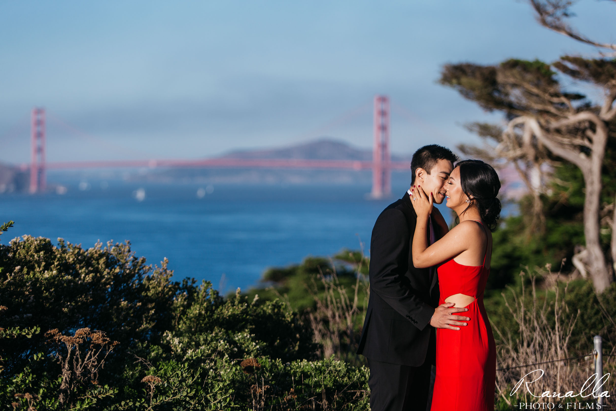 San Francisco Engagement Photography- Golden Gate Bridge- Red Maxi Dress- Palace of Fine Arts- Wedding Photos- Ranalla Photo & Films