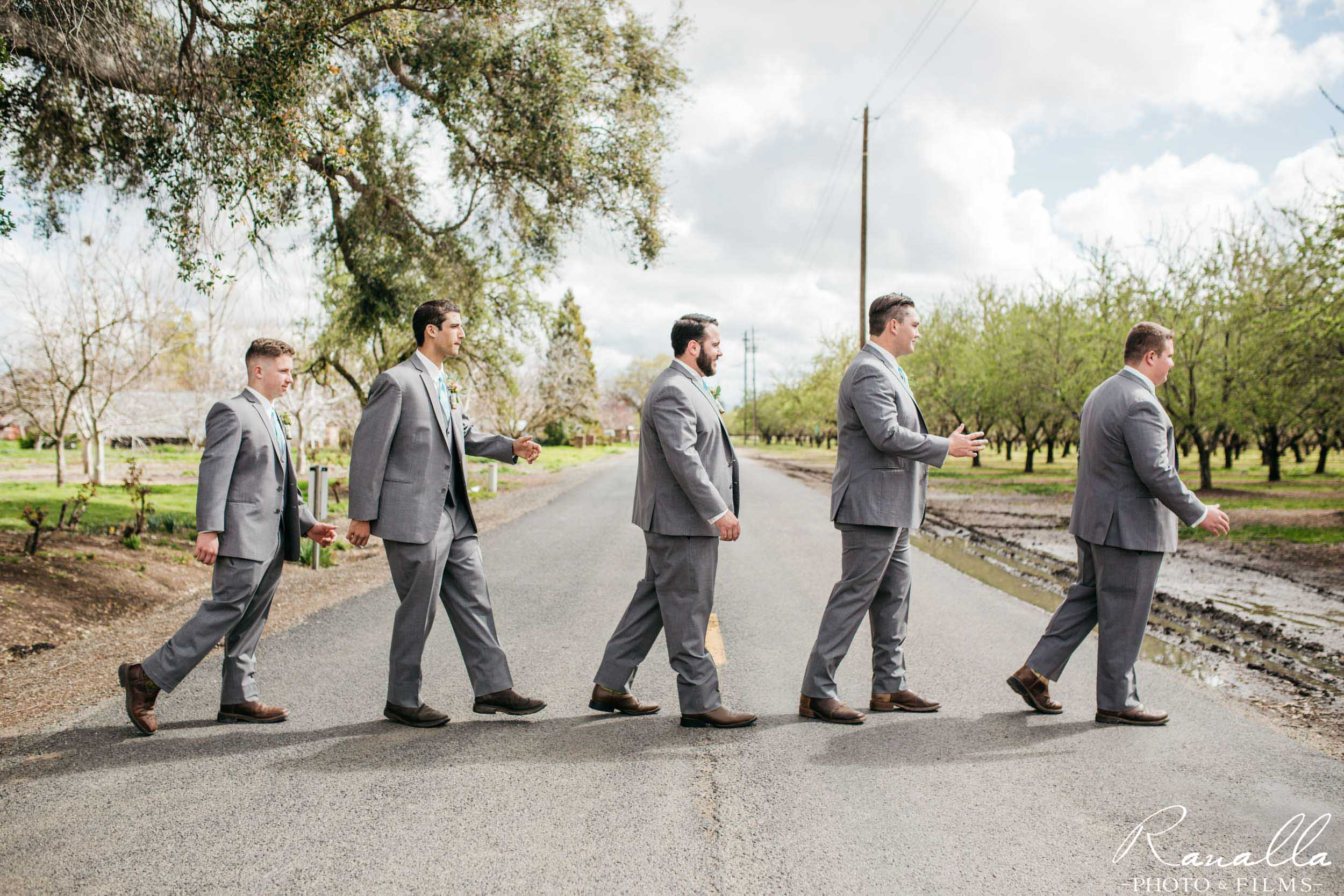 Chico Wedding Photography- Groomsmen Party Beatles Pose- Patrick Ranch Wedding Photos- Ranalla Photo & Films