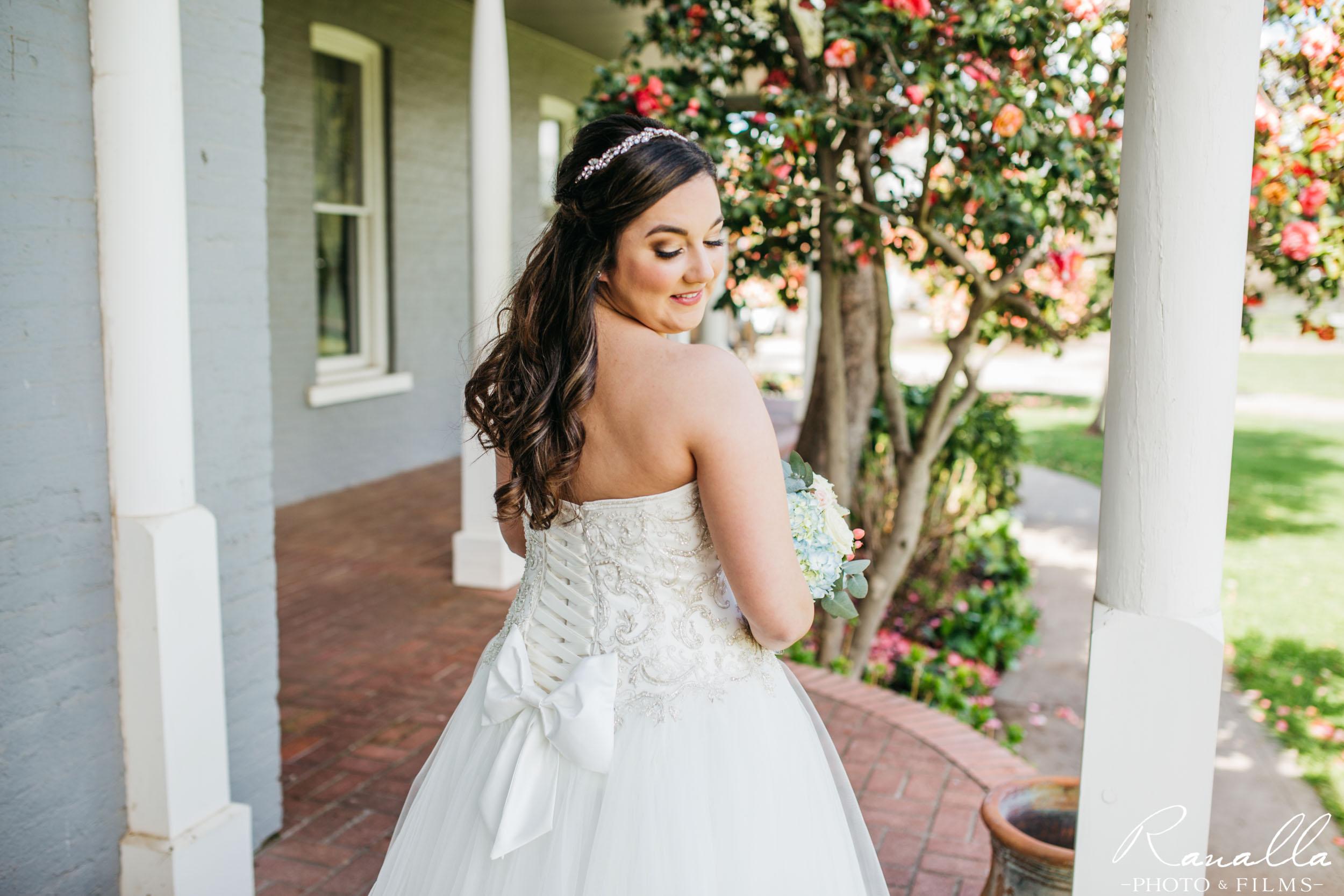 Chico Wedding Photography- Back Shot of Bride- Patrick Ranch Wedding Photos- Ranalla Photo & Films