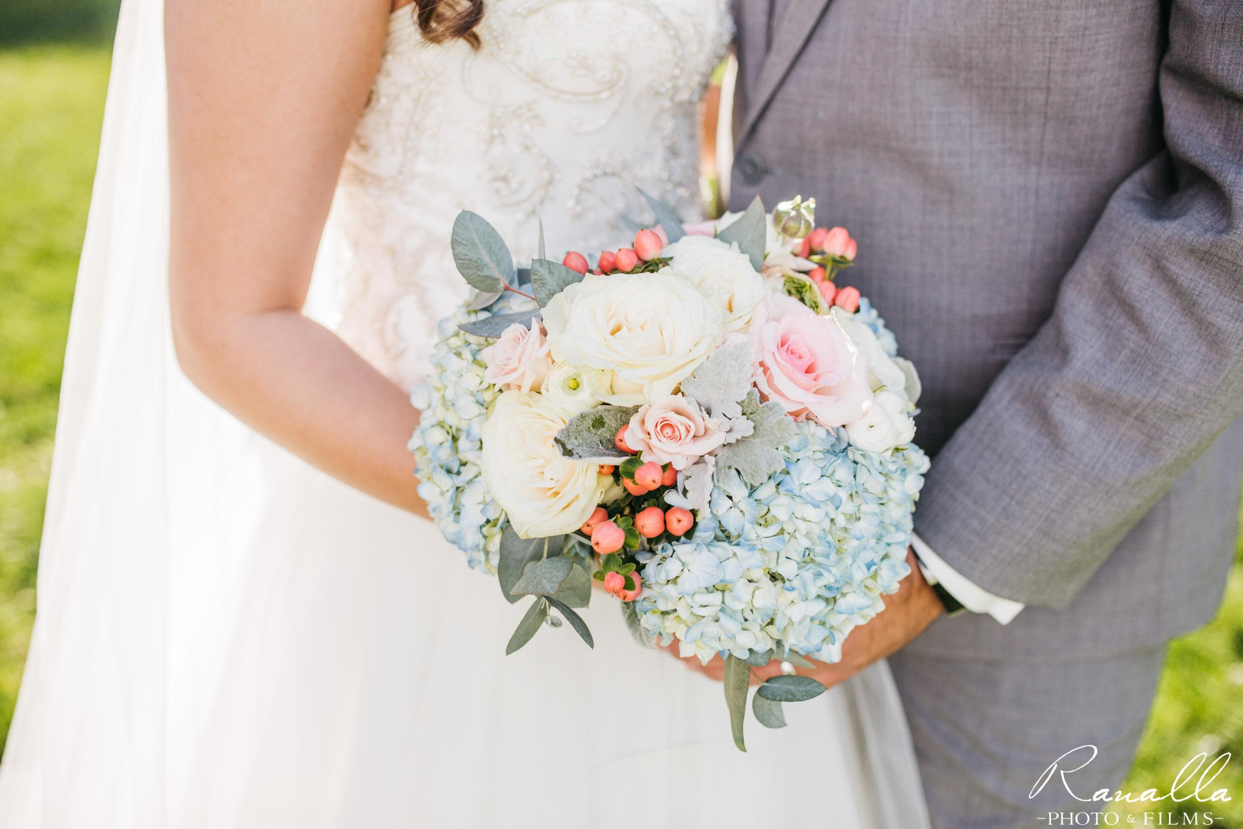 Chico Wedding Photography- Roses & Hydrangea Bouquet- Patrick Ranch Wedding Photos- Ranalla Photo & Films