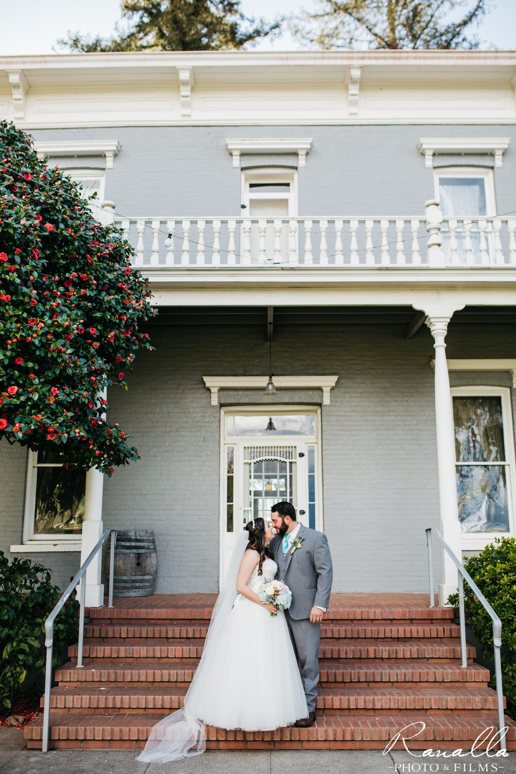 Chico Wedding Photography- Bride & Groom on Brick Steps- Patrick Ranch Wedding Photos- Ranalla Photo & Films