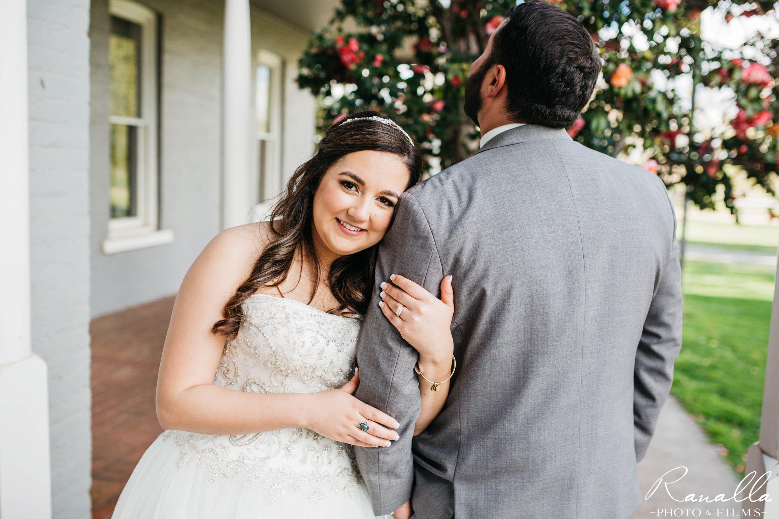 Chico Wedding Photography- Bride Holding Groom's Arm- Patrick Ranch Wedding Photos- Ranalla Photo & Films