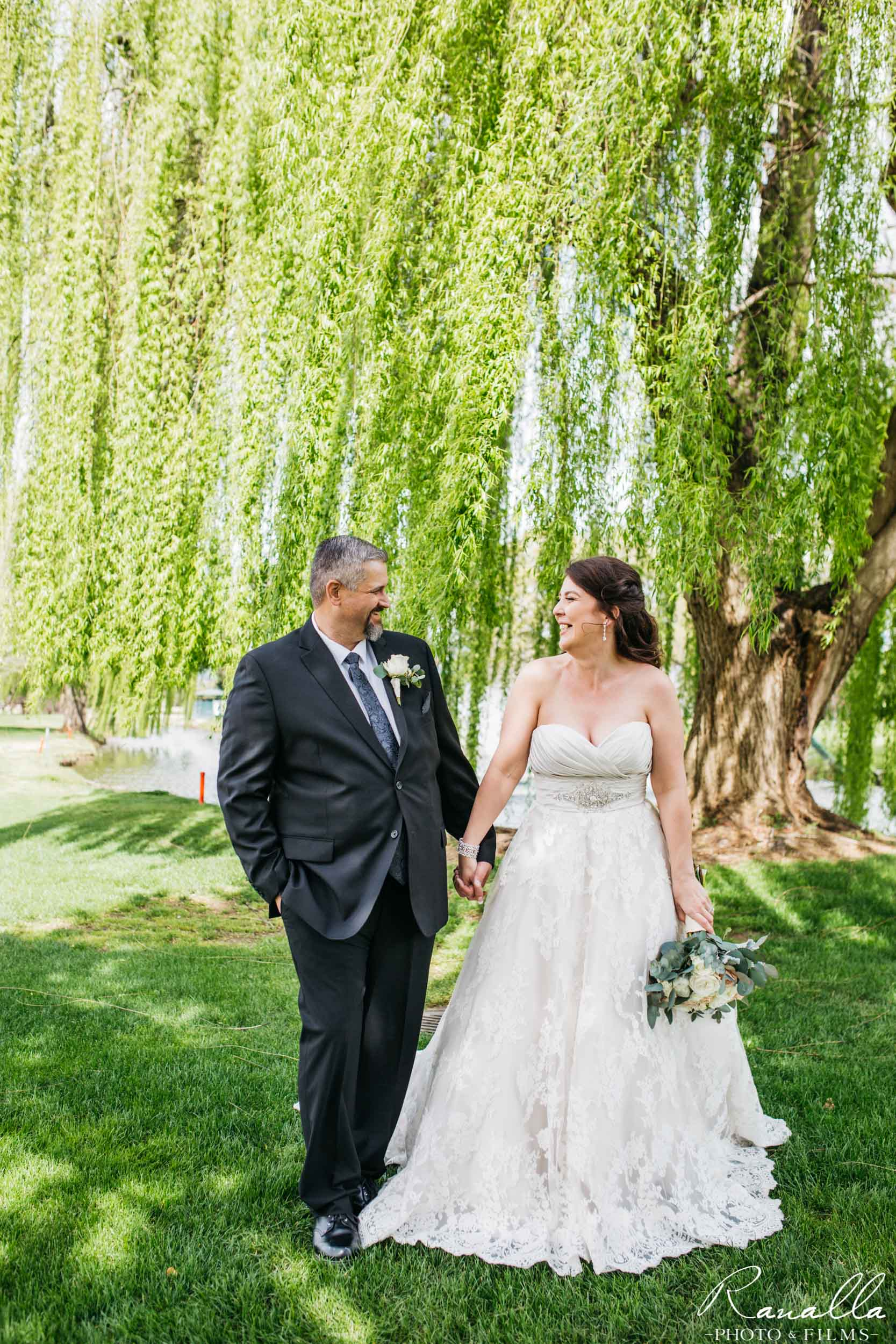 Chico Wedding Photography- Bride and Groom- Strapless Wedding Dress- Live Oak Trees- Butte Creek Country Club- Simply Elegant Bridal- Lavender Blue- Ranalla Photo & Films