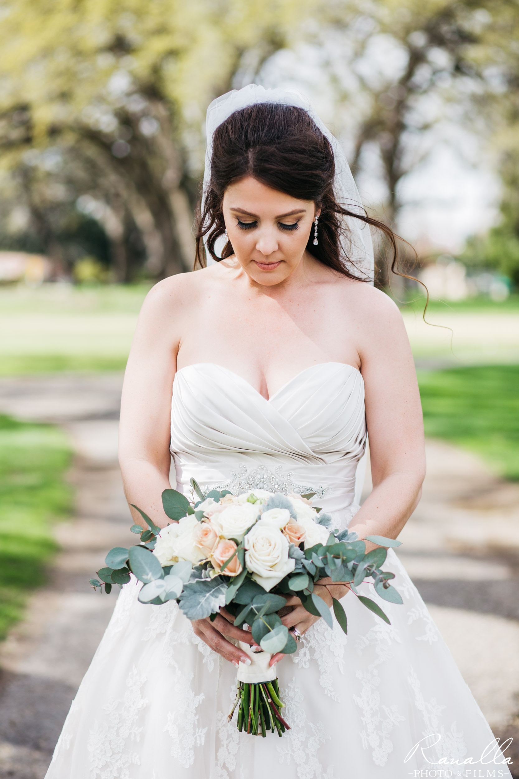 Chico Wedding Photography- Bridal Bouquet- Strapless Wedding Dress- Butte Creek Country Club- Simply Elegant Bridal- Lavender Blue- Ranalla Photo & Films
