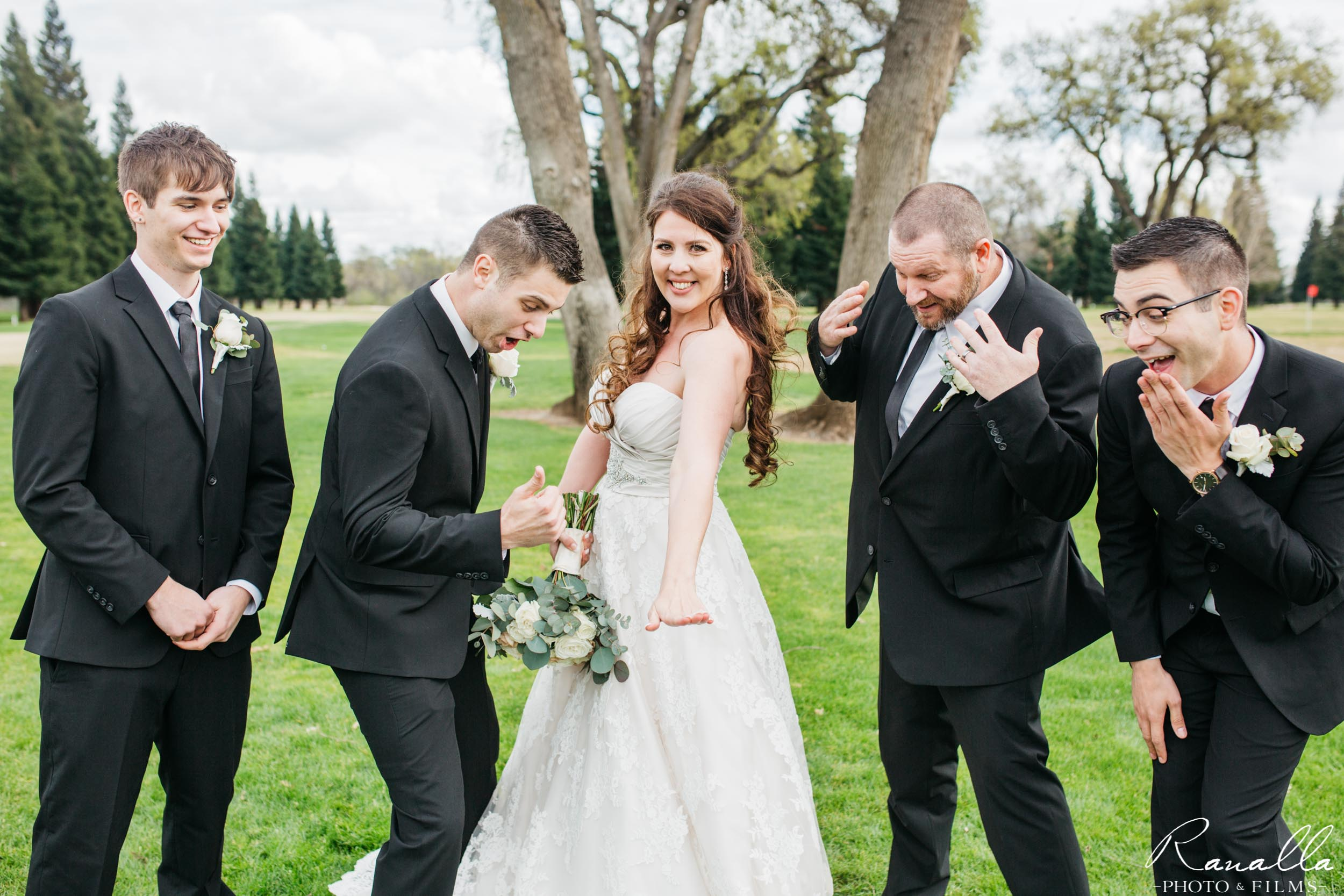 Chico Wedding Photography- Bride and Groomsmen- Butte Creek Country Club- Simply Elegant Bridal- Ranalla Photo & Films